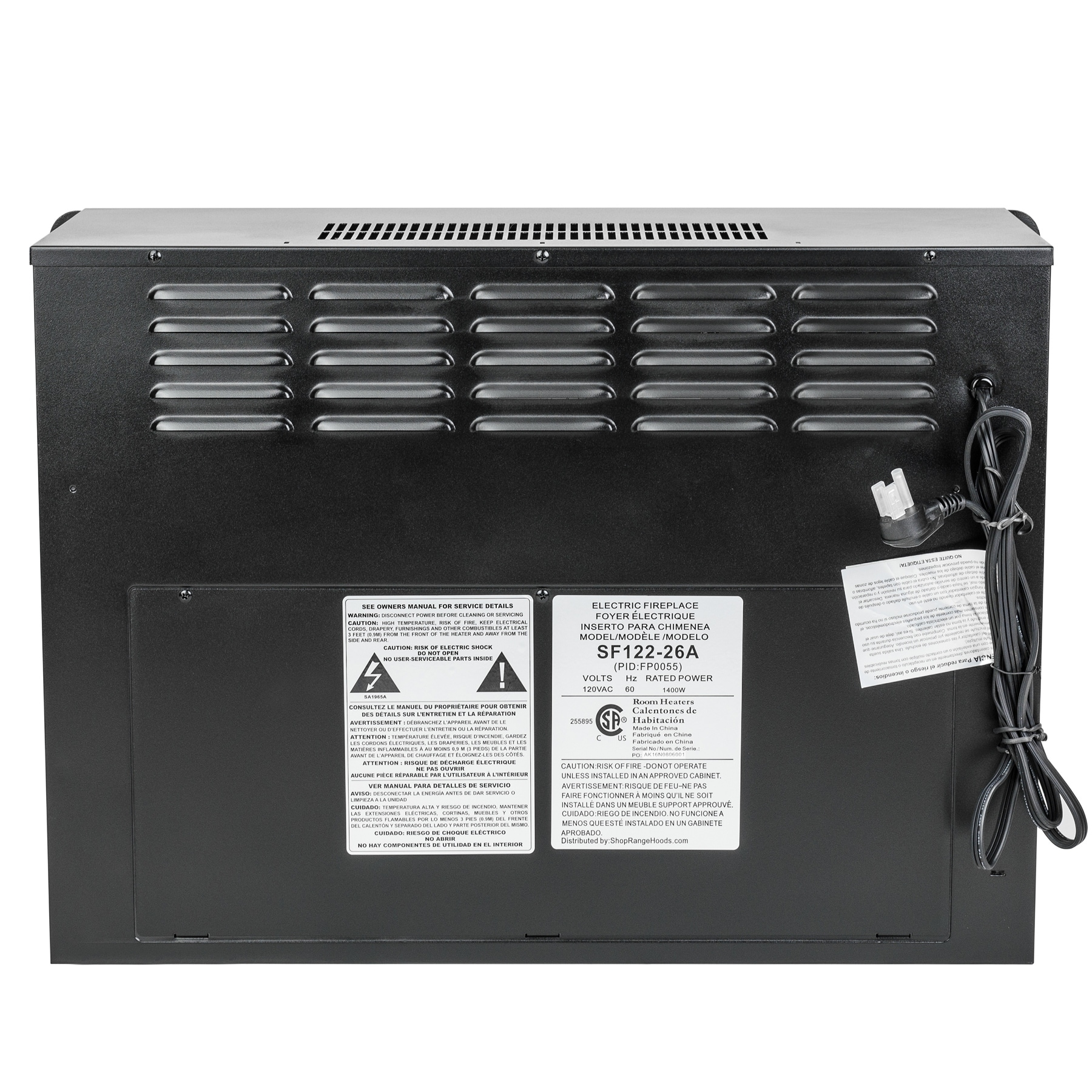 Akdy 23 Black Freestanding Electric Firebox Fireplace Heater Insert With