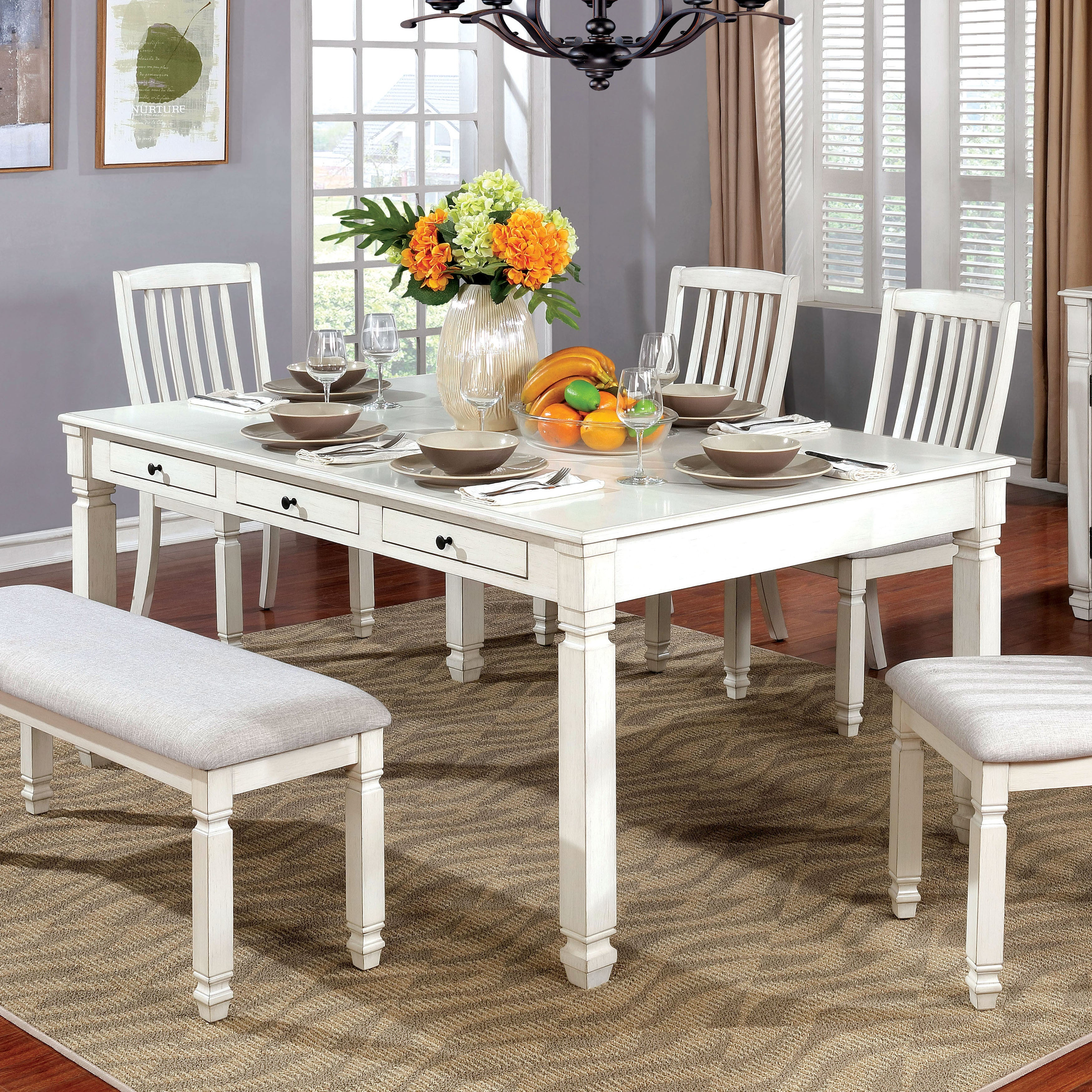 Shop furniture of america aubrie antique white wood transitional storage drawer dining table on sale free shipping today overstock com 19826023