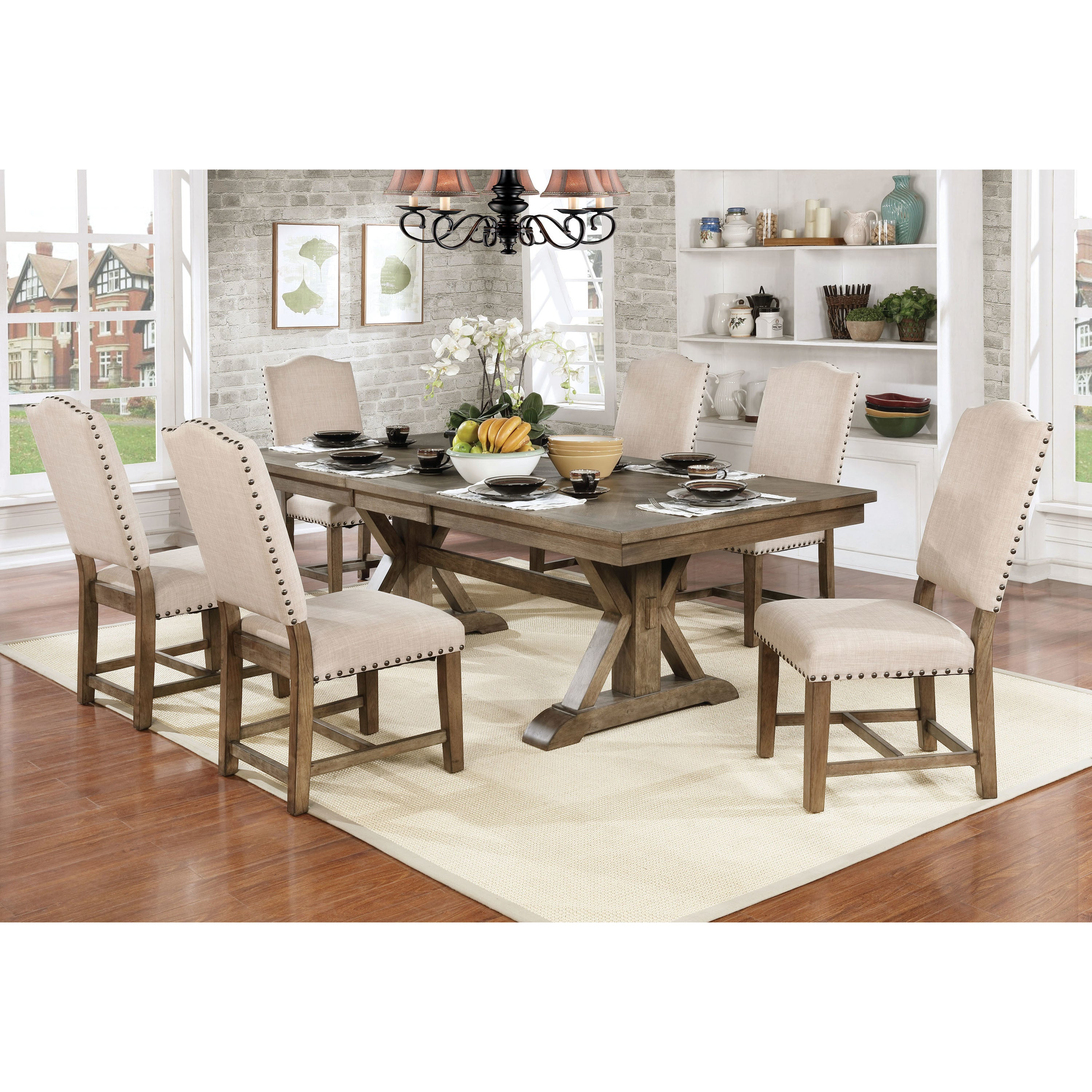 Furniture Of America Cooper Rustic Light Oak Finish Wood Trestle Dining  Table   Free Shipping Today   Overstock   25760201
