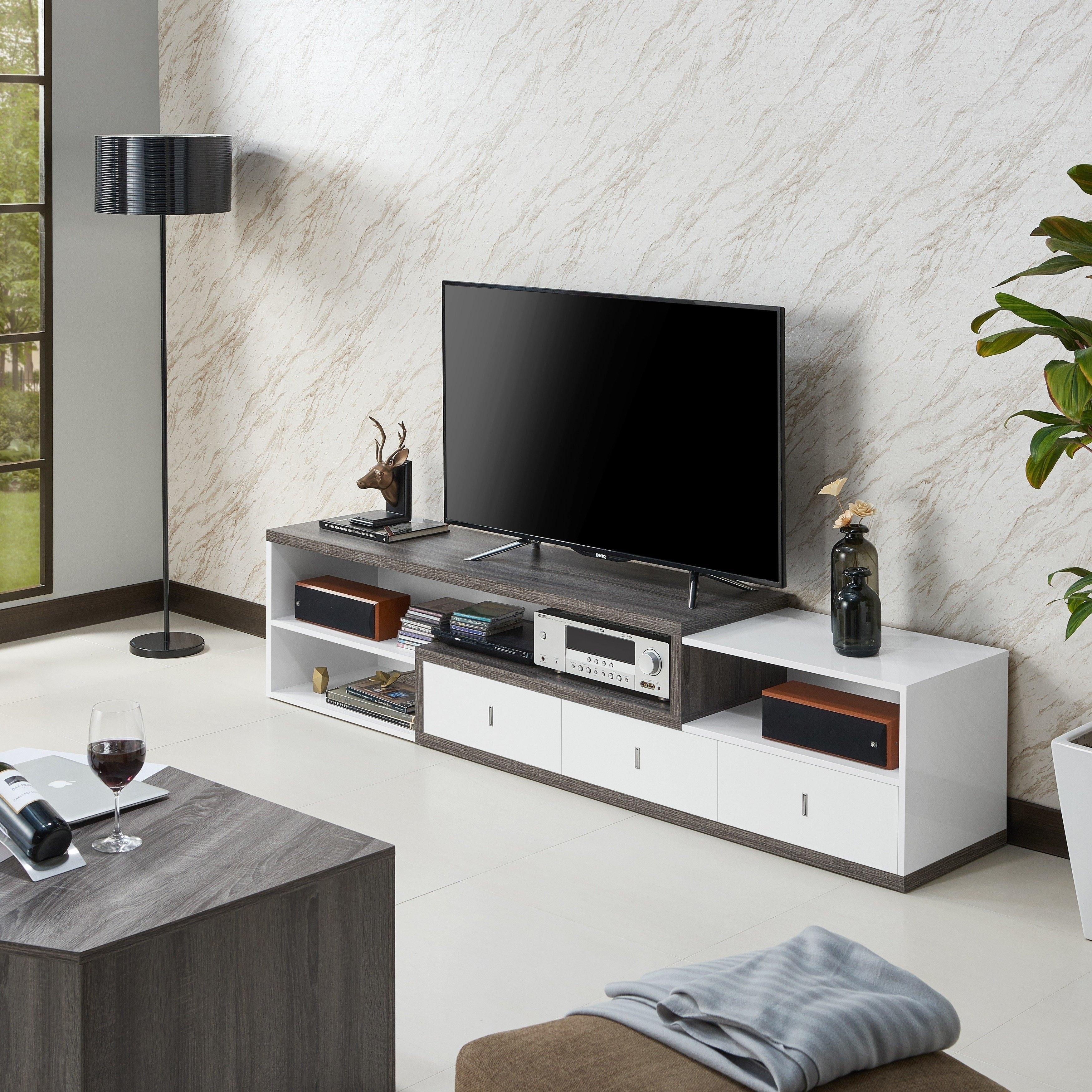 Shop Yonova Modern 83 Inch White Tv Stand By Foa On Sale Free