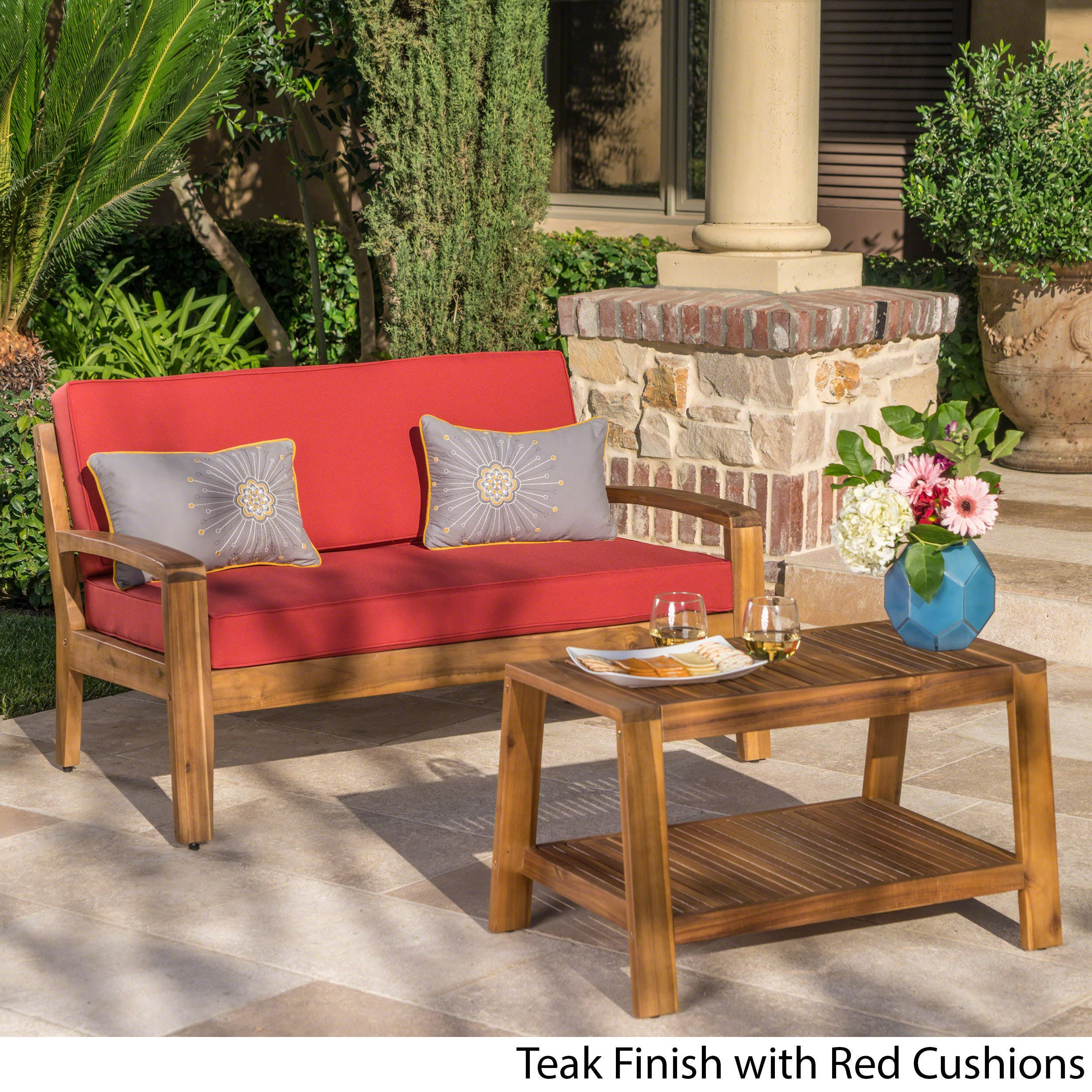 Grenada Outdoor 2 Piece Acacia Wood Loveseat And Coffee Table Set With Cushions By Christopher Knight Home Free Shipping Today 25767406