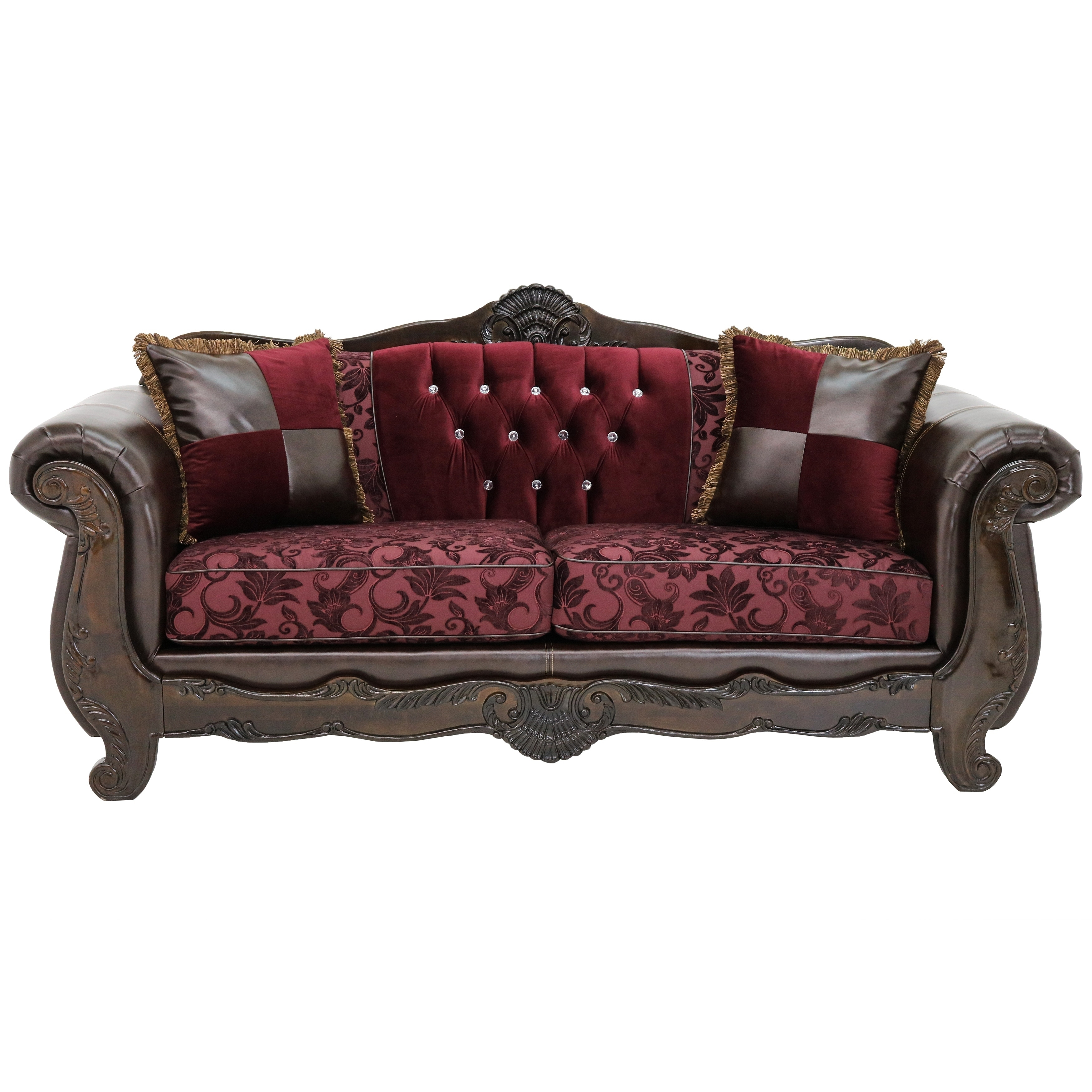 Attrayant Shop Palace Traditional Red Velvet And Brown Leather Upholstered Living  Room Sofa Set   Free Shipping Today   Overstock.com   19834828