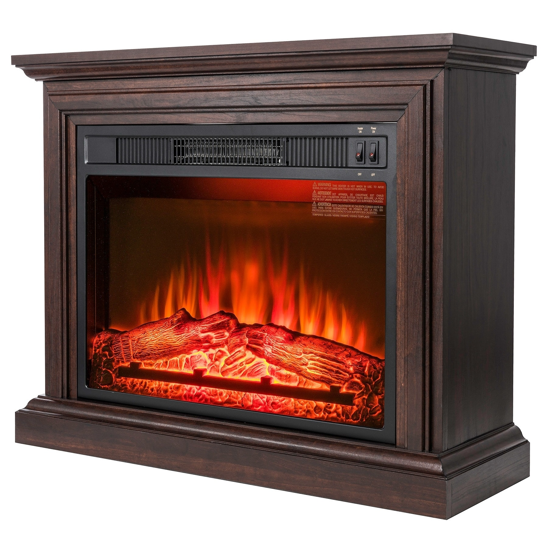 Shop Akdy Fp0091 32 Electric Fireplace Freestanding Brown Wooden