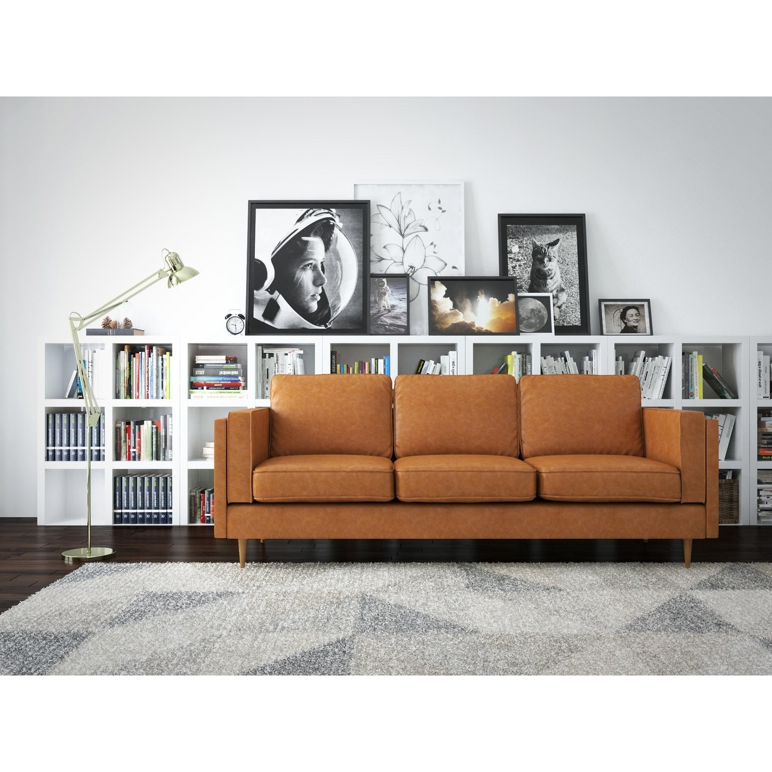 Shop af lifestyle mid century modern finn leather sofa free shipping today overstock com 19836616
