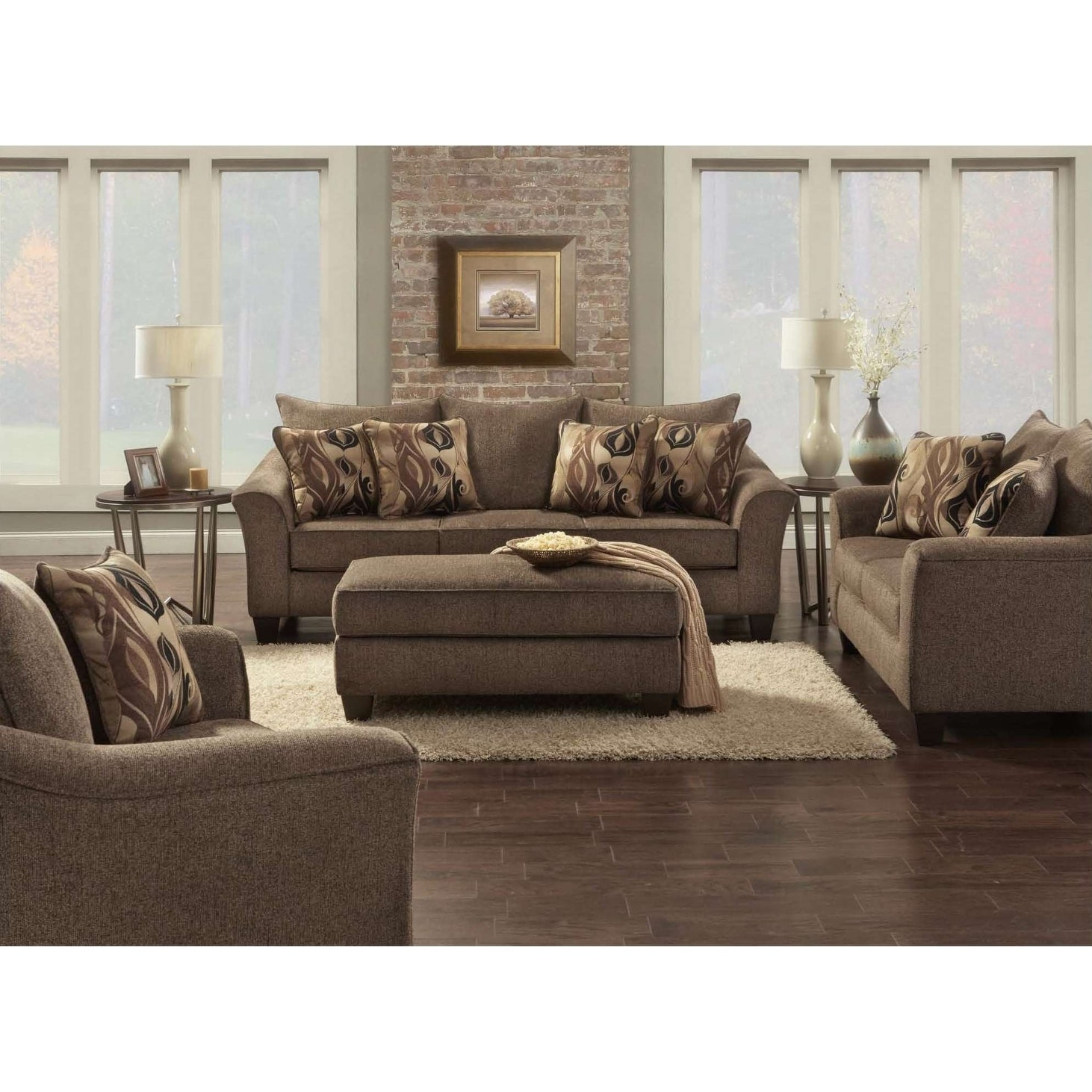 Shop sofatrendz cole cafe brown sofa loveseat ottoman 3 pc set free shipping today overstock com 19838830