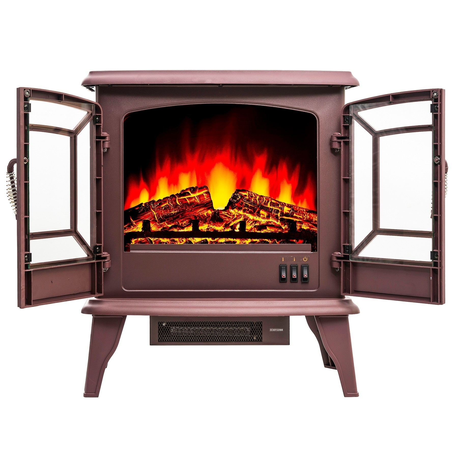 Golden Vantage Fp0077 20 Electric Fireplace Portable Freestanding Brown Firebox Flame W Logs Heater On Free Shipping Today