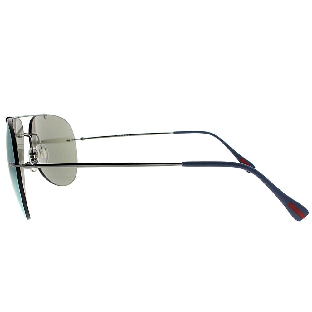 61b4f08de8a6 Shop Prada Linea Rossa Aviator PS 50PS Red Feather 5AV2E2 Unisex Gunmetal  Frame Blue Mirror Lens Sunglasses - Ships To Canada - Overstock.ca -  19841025