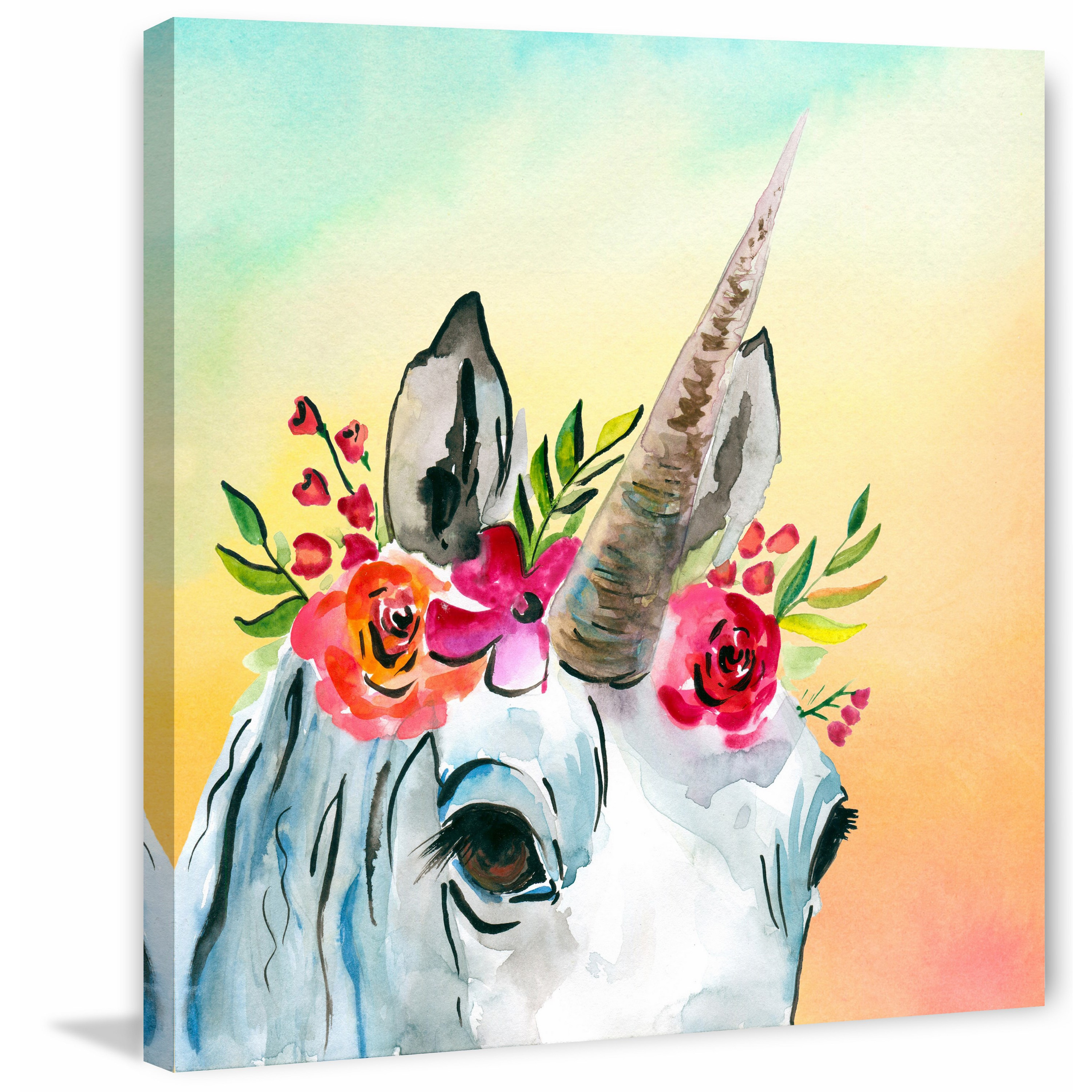 Shop \'Unicorn Flowers\' Painting Print on Wrapped Canvas - On Sale ...