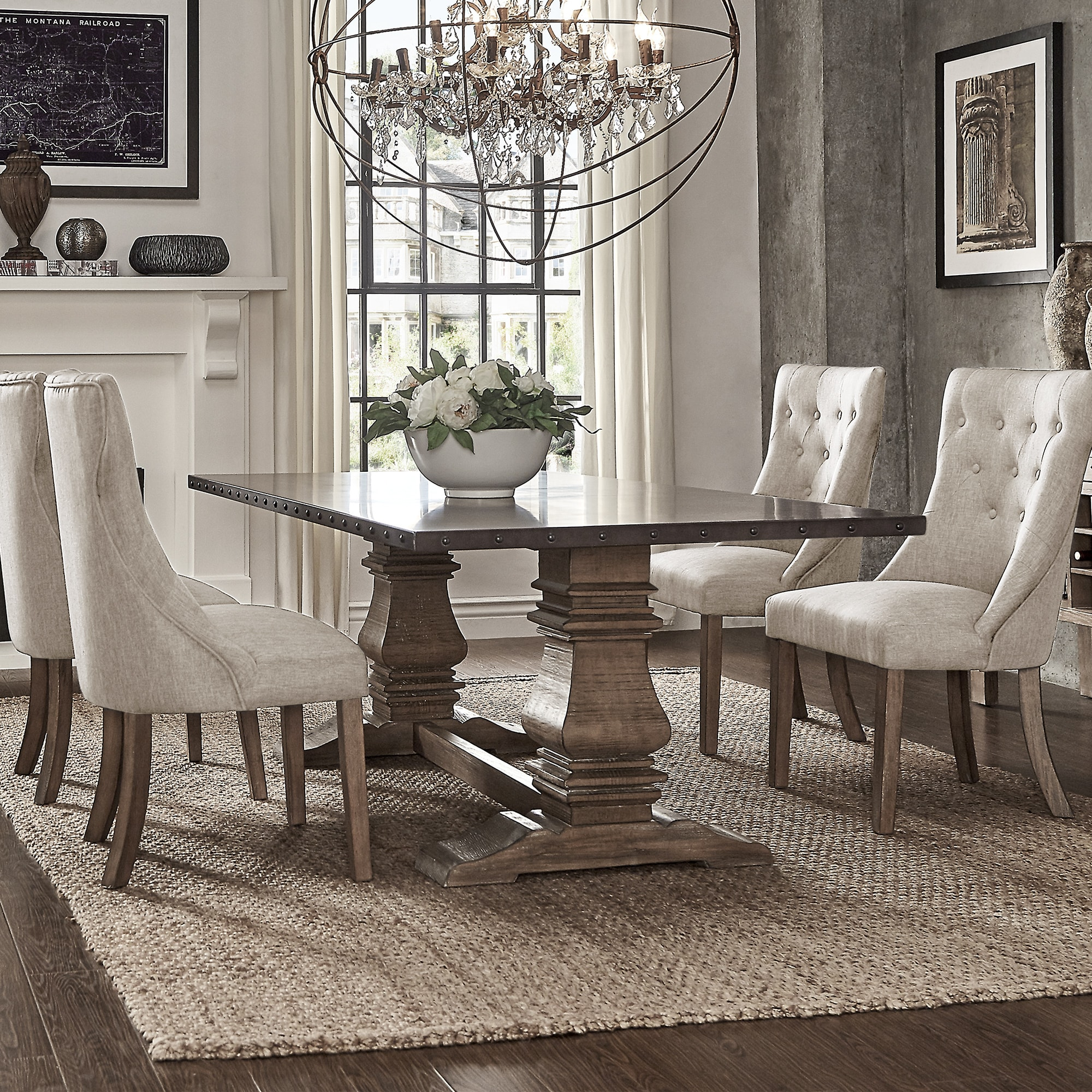 Shop Janelle Extended Rustic Zinc Dining Set With Tufted Chairs By INSPIRE  Q Artisan   On Sale   Free Shipping Today   Overstock.com   19842961