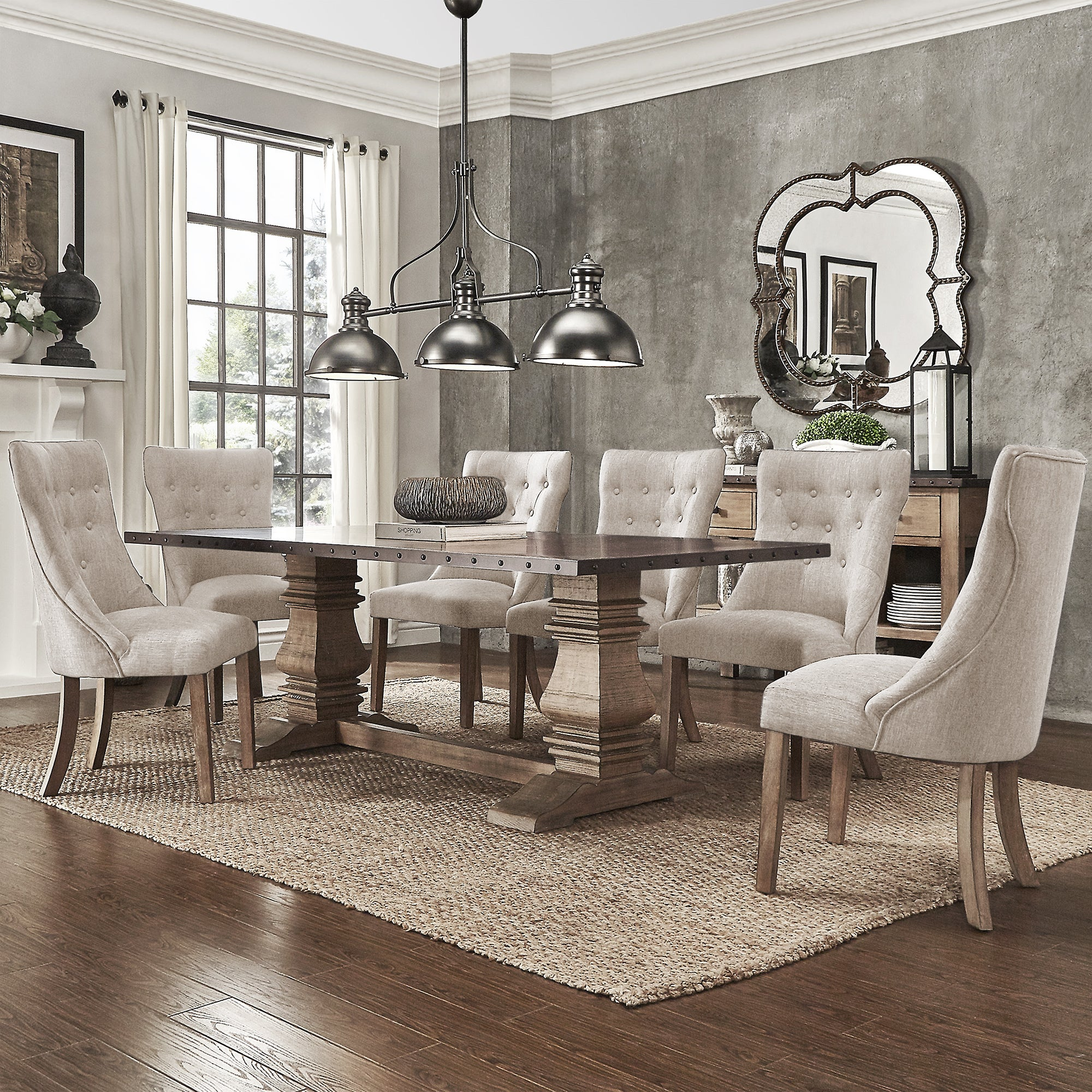 Shop janelle extended rustic zinc dining set with tufted chairs by inspire q artisan free shipping today overstock com 19842961