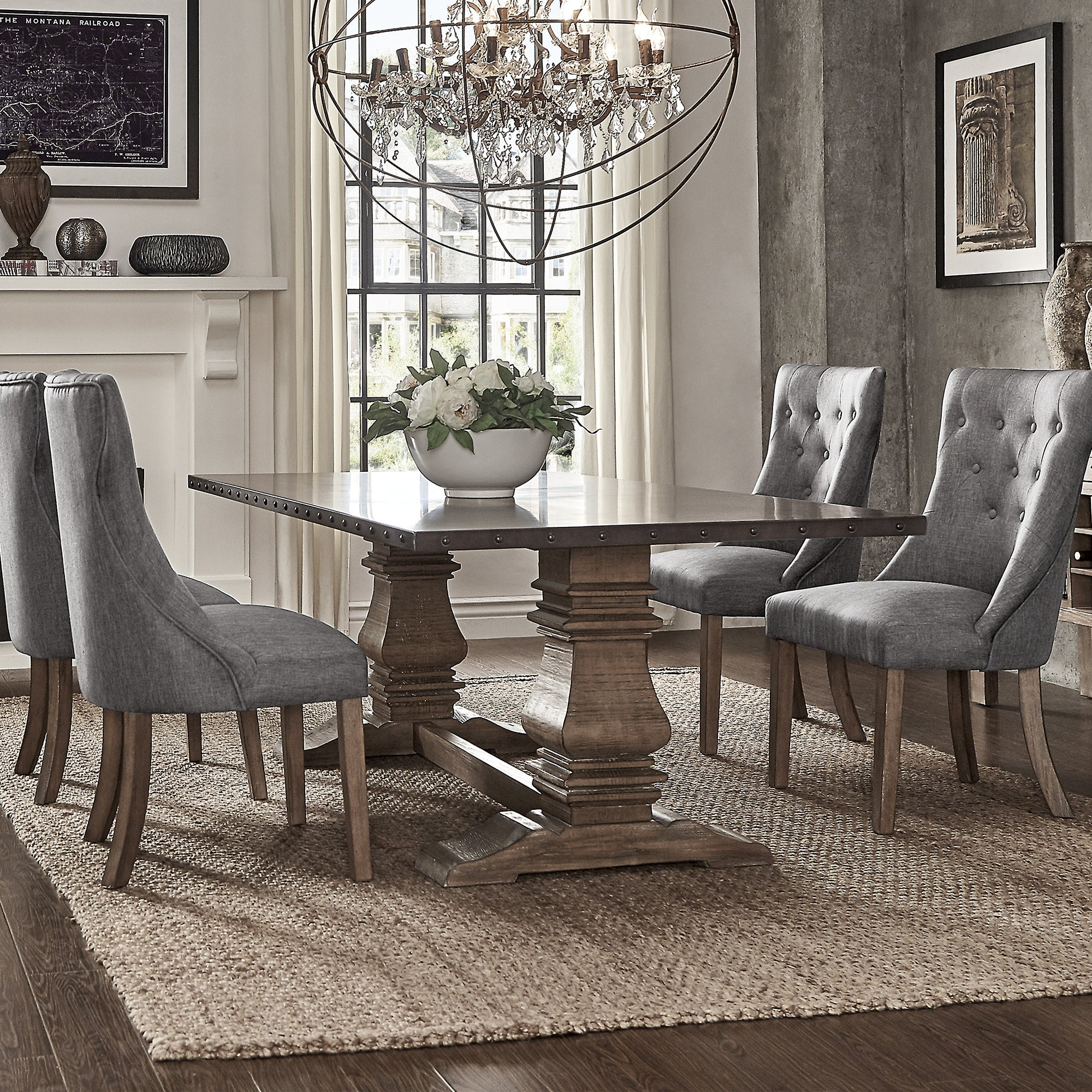 Shop Janelle Extended Rustic Zinc Dining Set With Tufted Chairs By INSPIRE Q Artisan