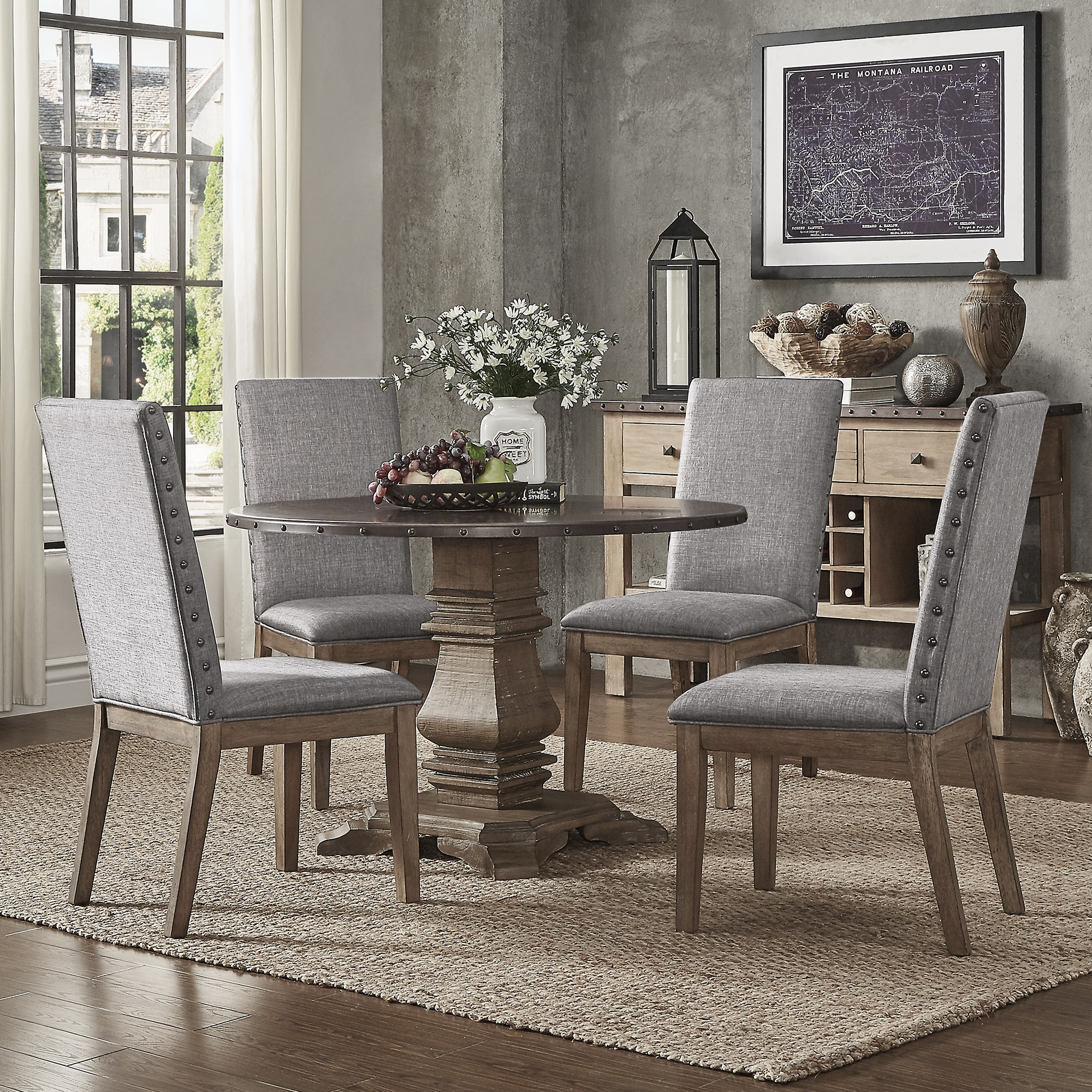 Shop Janelle Round Rustic Zinc Dining Set   Parson Chairs By INSPIRE Q  Artisan   On Sale   Free Shipping Today   Overstock.com   19842966