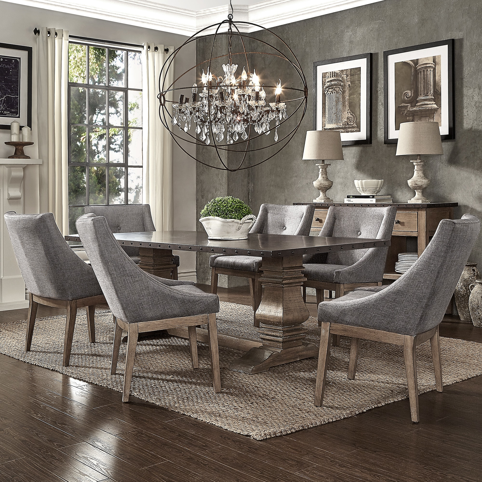 Janelle Extended Rustic Zinc Dining Set