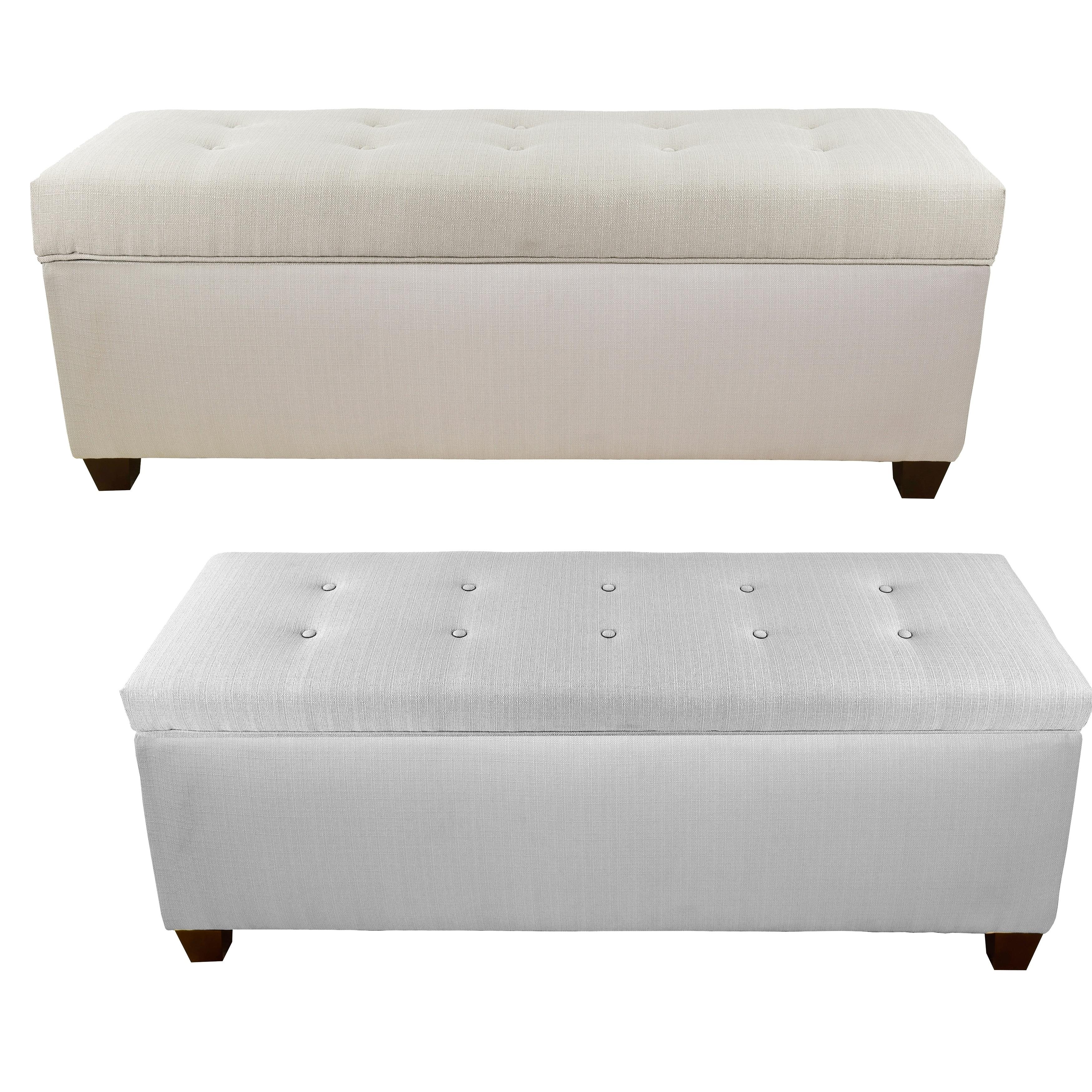 Sole Secret Button Tufted Sachi Linen Storage Bench  Free