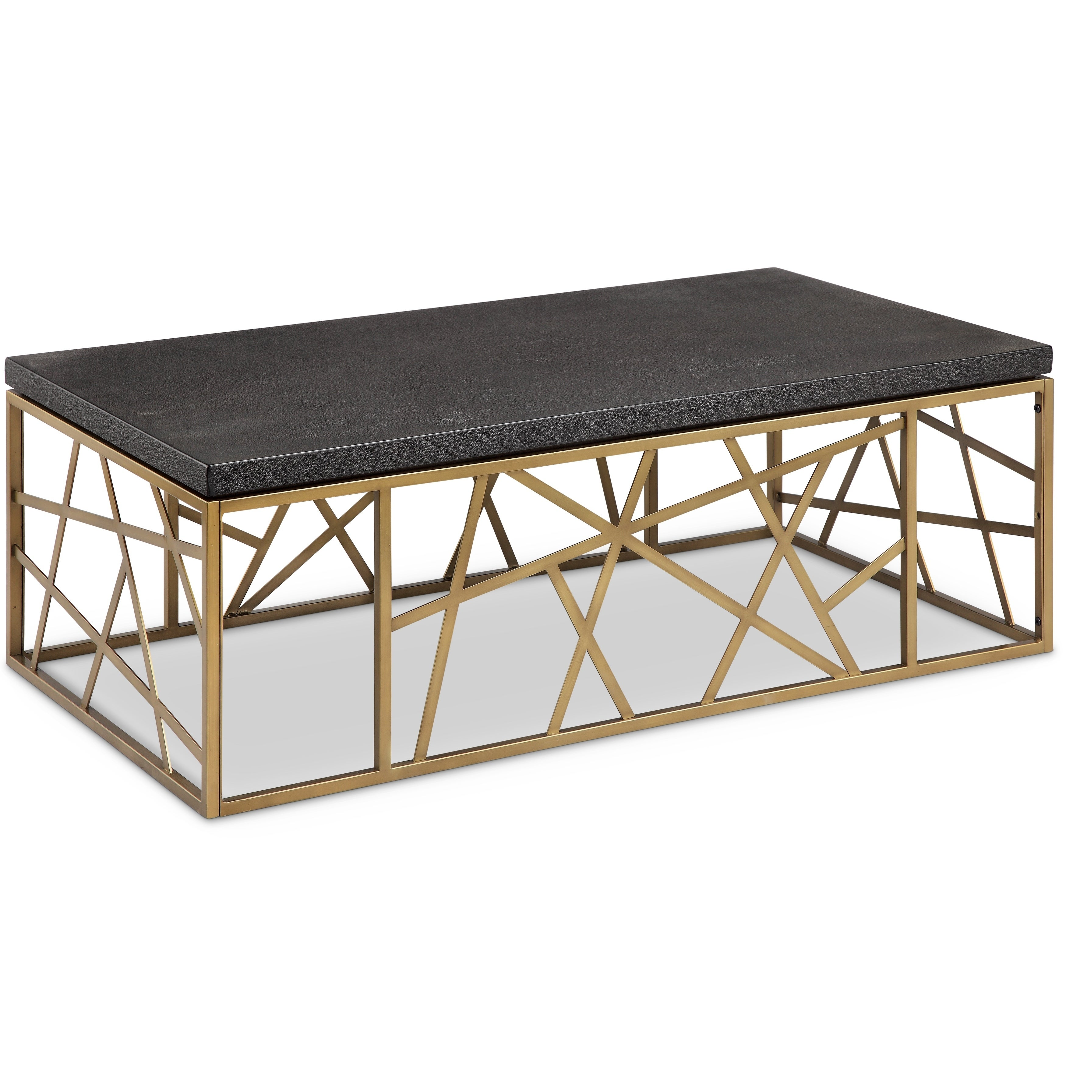 Sarapa Contemporary Black Shagreen and Antique Gold Coffee Table