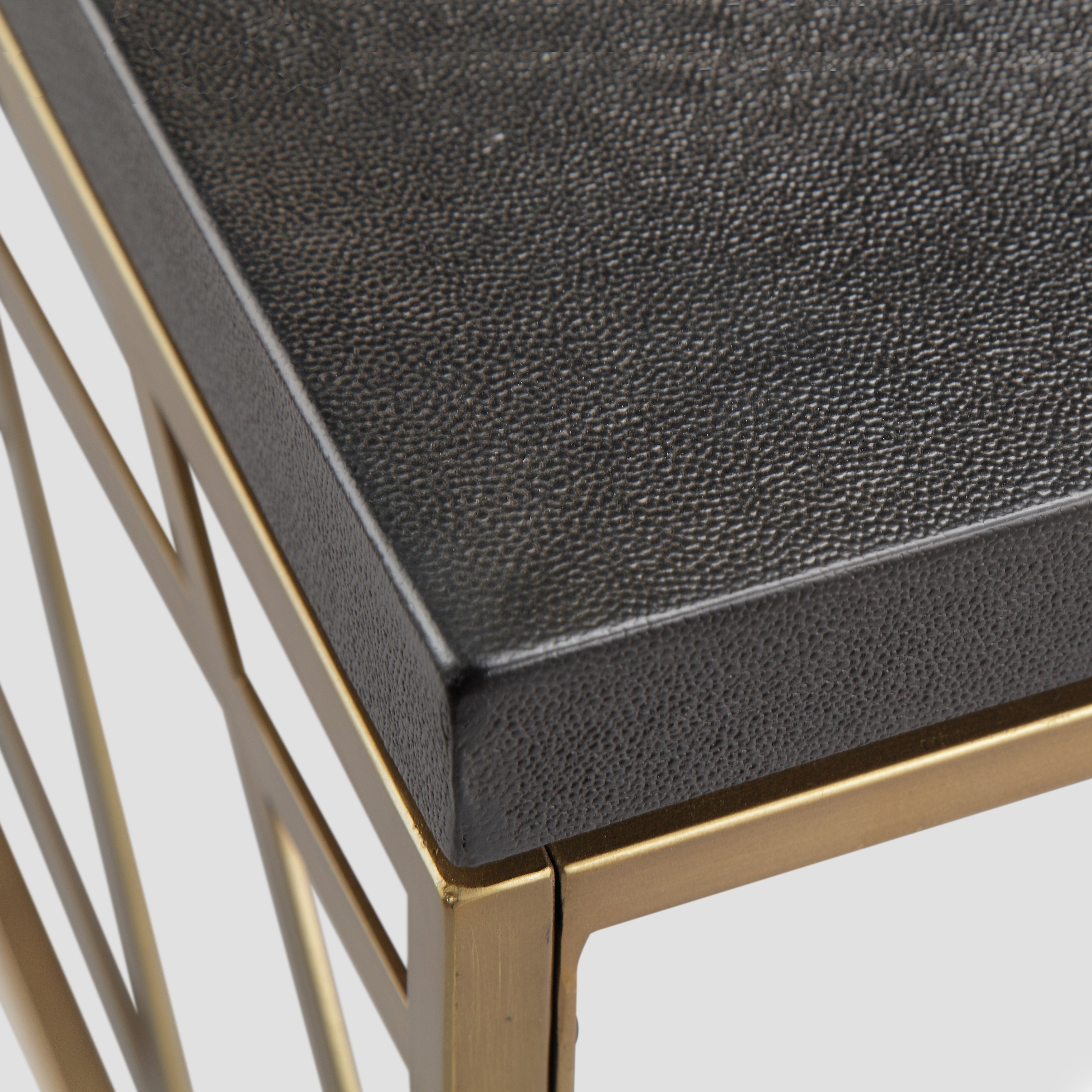 Sarapa Contemporary Black Shagreen and Antique Gold End Table