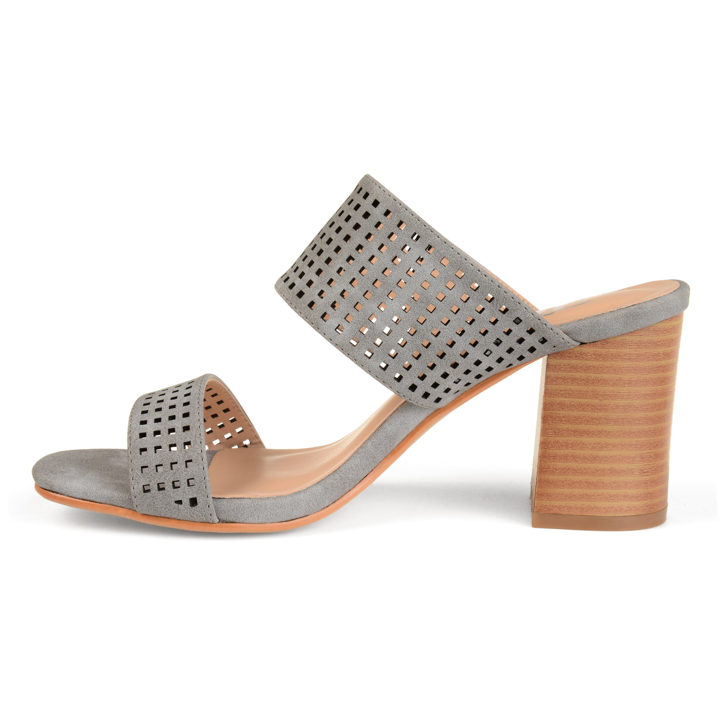 5320a82b159d Shop Journee Collection Women s  Sonya  Dual-strap Laser-cut Heeled Mules -  On Sale - Free Shipping On Orders Over  45 - Overstock - 19844006