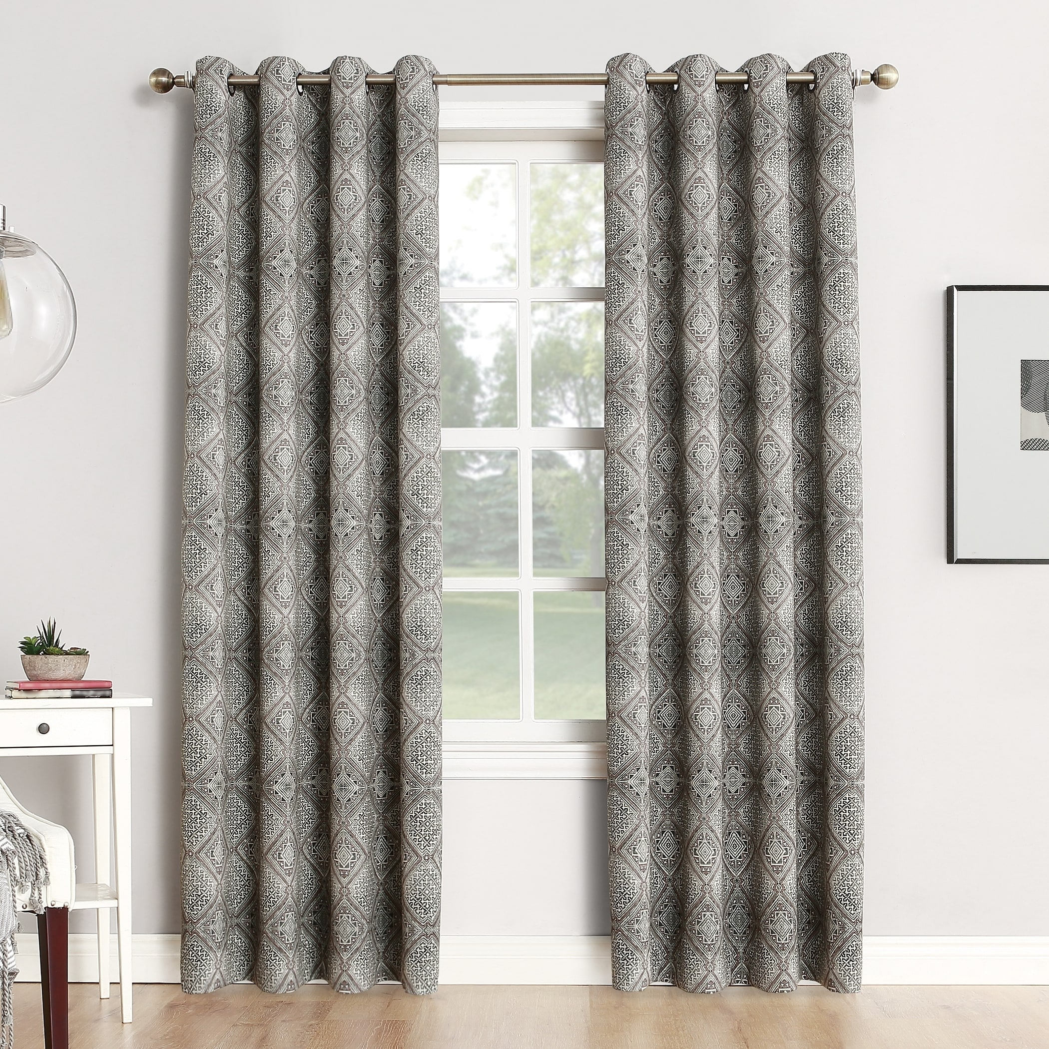 silver blackout curtain thermal solid curtains brushed top insulated grommet color darcy grommets aubergine