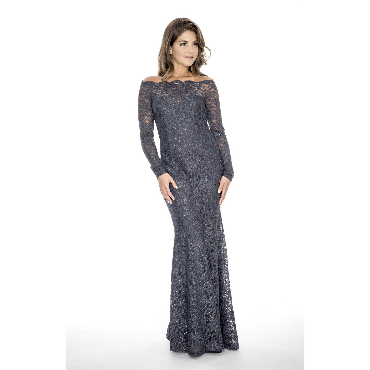 Shop Decode 1.8 Women\'s Plus Size Long Lace Evening Dress-Charcoal ...