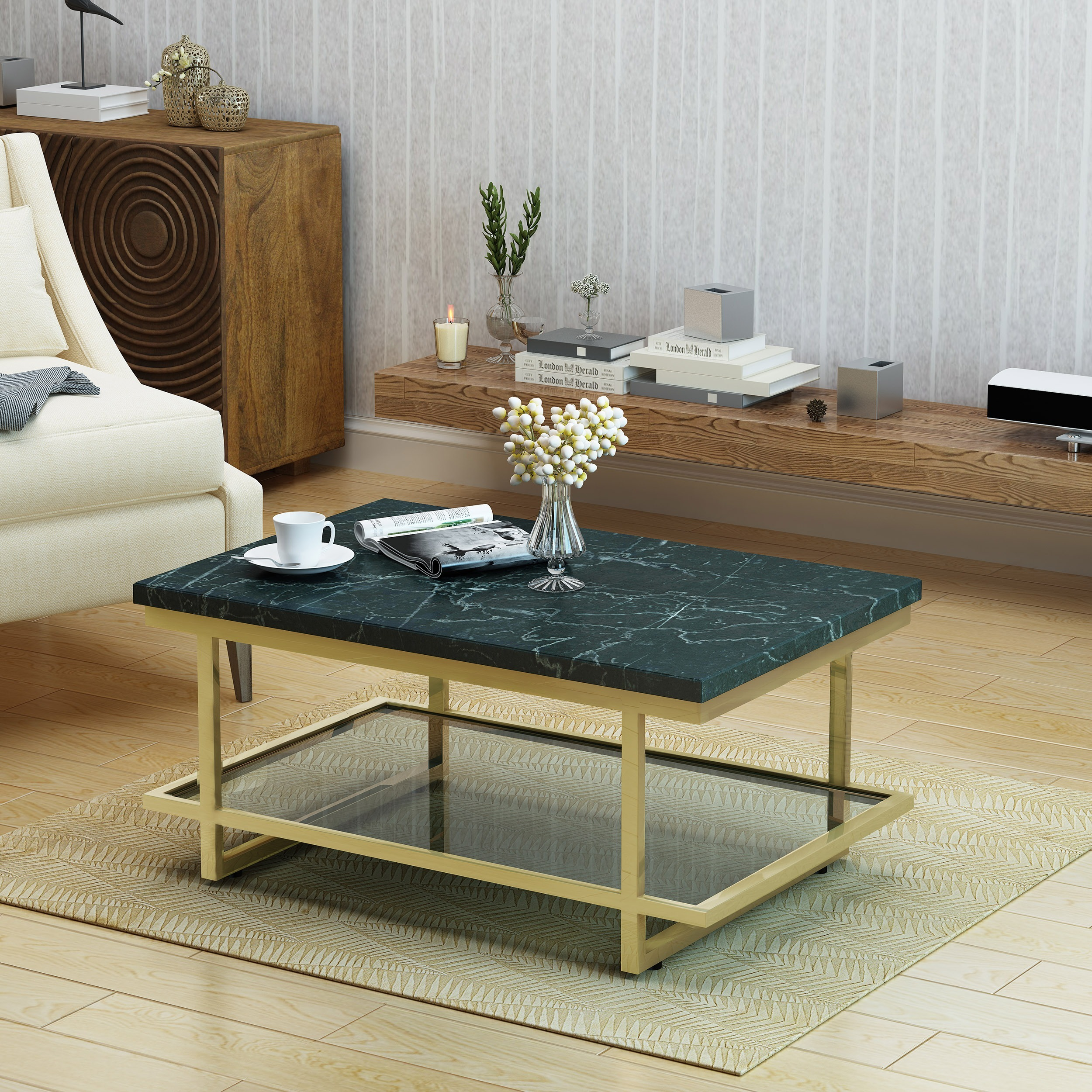 Shop Mytch Modern Marble Coffee Table By Christopher Knight Home