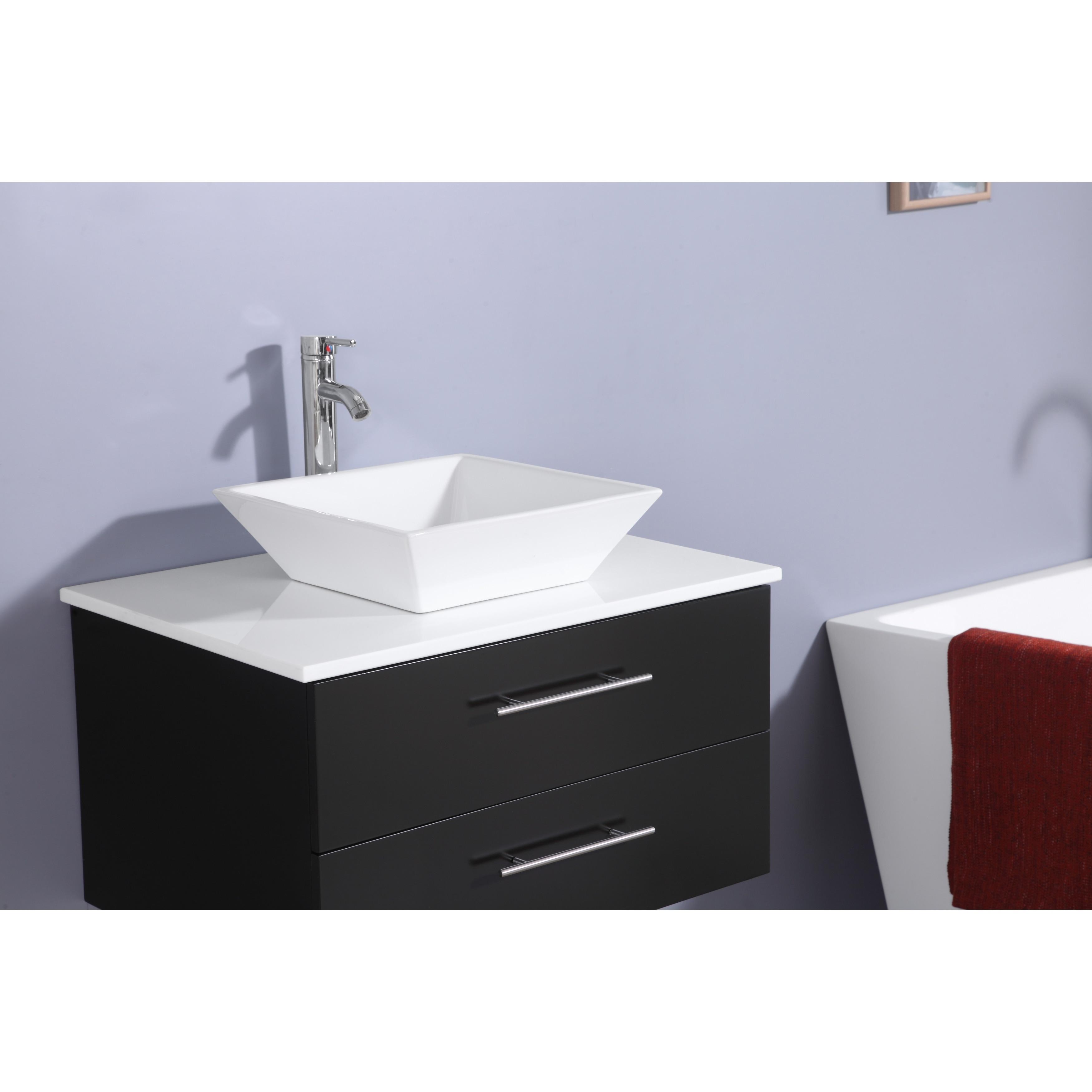 Totti Wave 24-Inch Espresso Modern Bathroom Vanity With Countertop ...