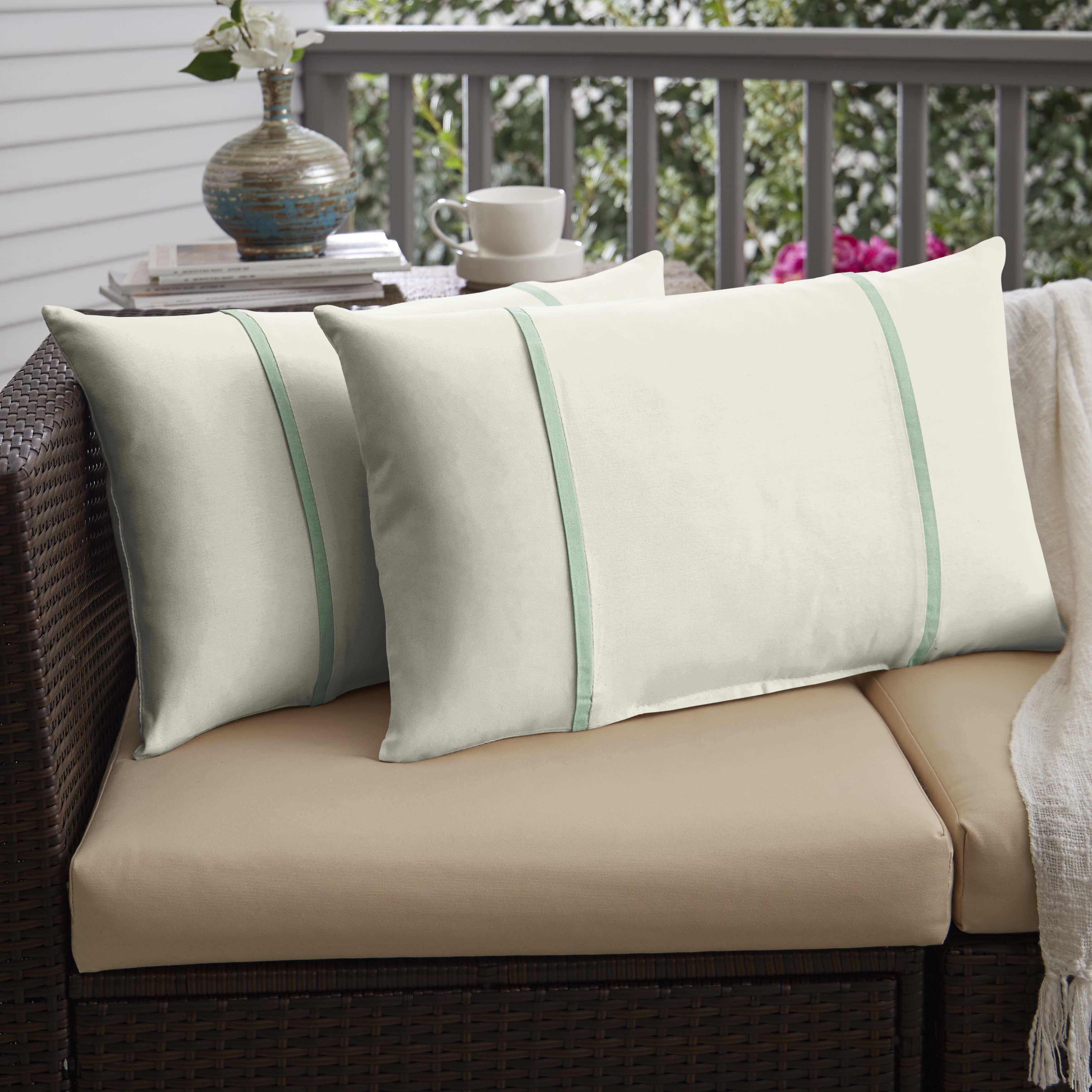 Humble Haute Sunbrella Canvas Natural And Spa Double Small Indoor Outdoor Pillows Set Of 2