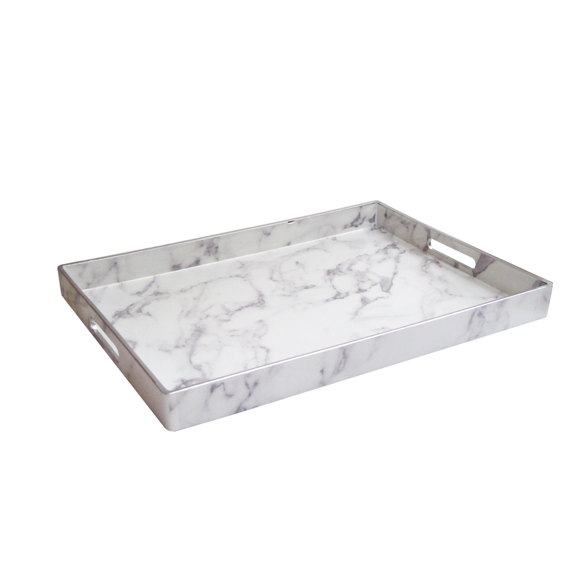 Marble White Grey Silver Serving Tray 14x19 Free Shipping On Orders Over 45 19850349