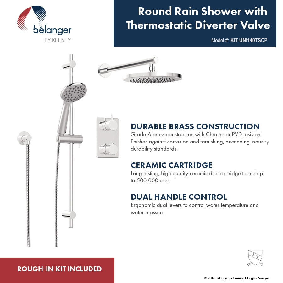 Shop Modern Round Shower Faucet - Complete Set with Thermostatic ...