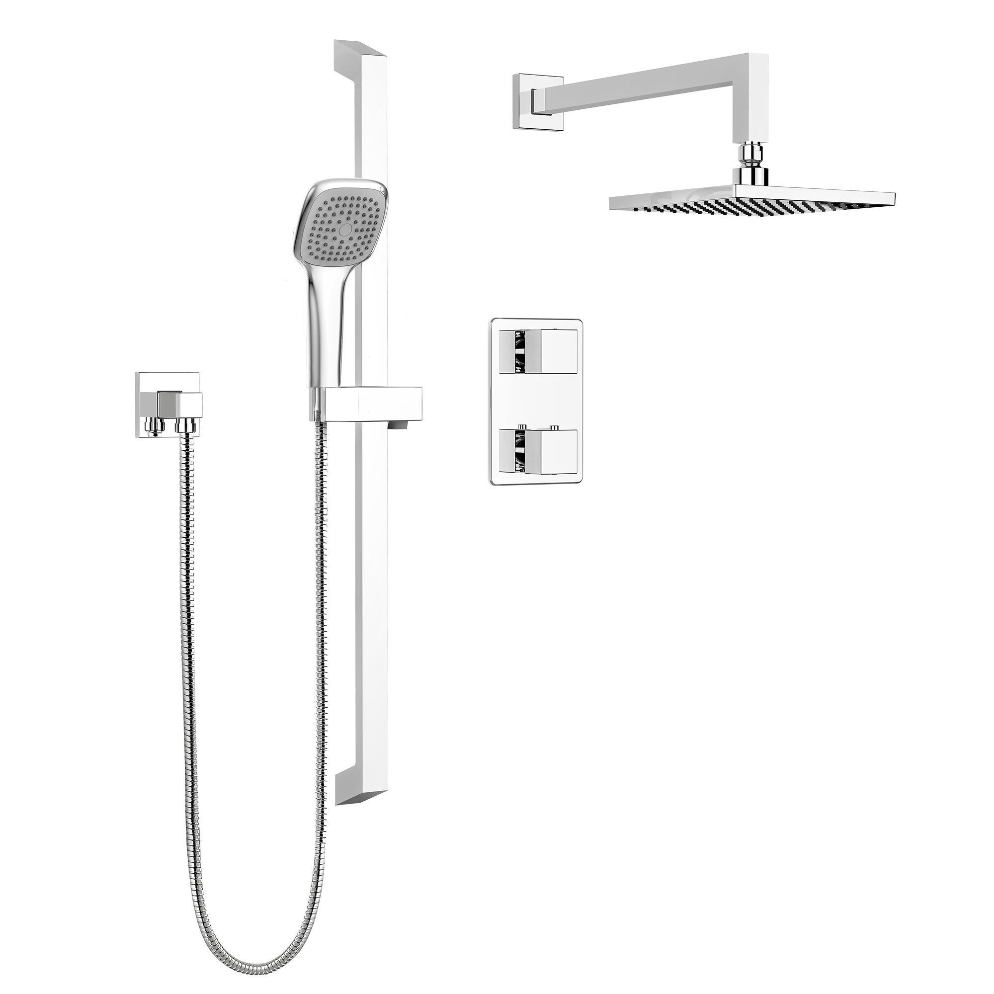 Stylish Square Shower Faucet – Complete set with Thermostatic ...
