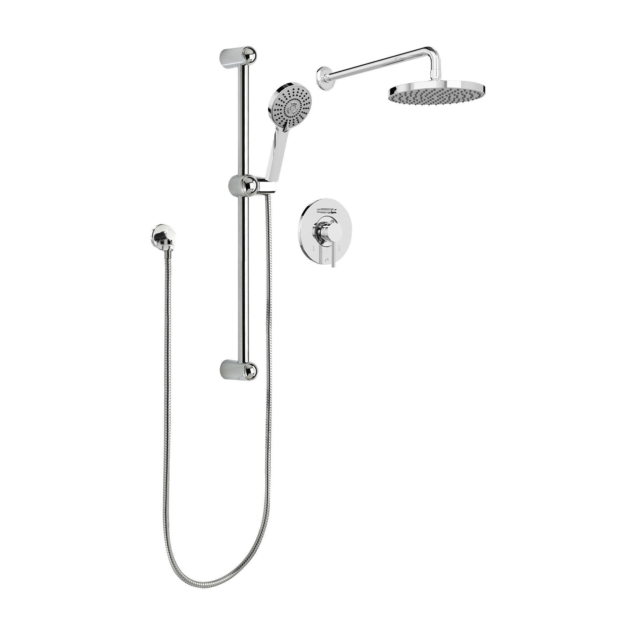 Shop Sleek Round Rain Shower Faucet   Complete Set With Diverter Valve,  Hand Shower Sliding Bar And Shower Head, Polished Chrome   Free Shipping  Today ...