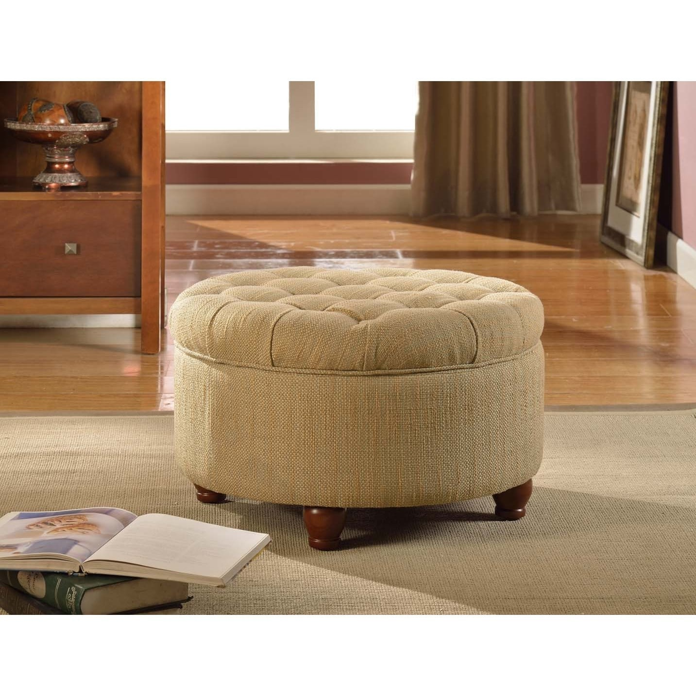 Shop Laurel Creek Florence Tan And Cream Tweed Tufted Storage Ottoman   On  Sale   Free Shipping Today   Overstock.com   19856156