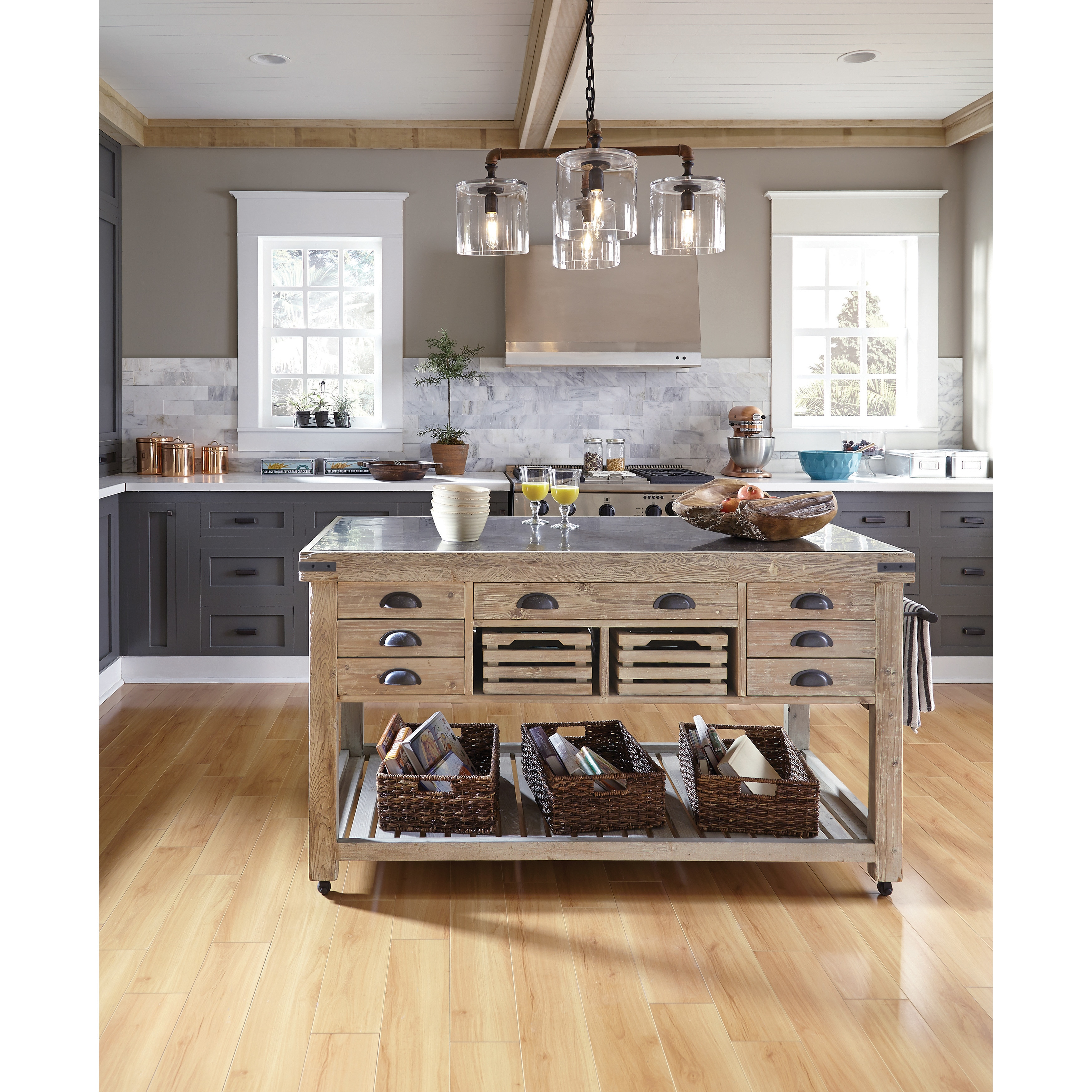 The Gray Barn Firebranch Wood And Stone Kitchen Island
