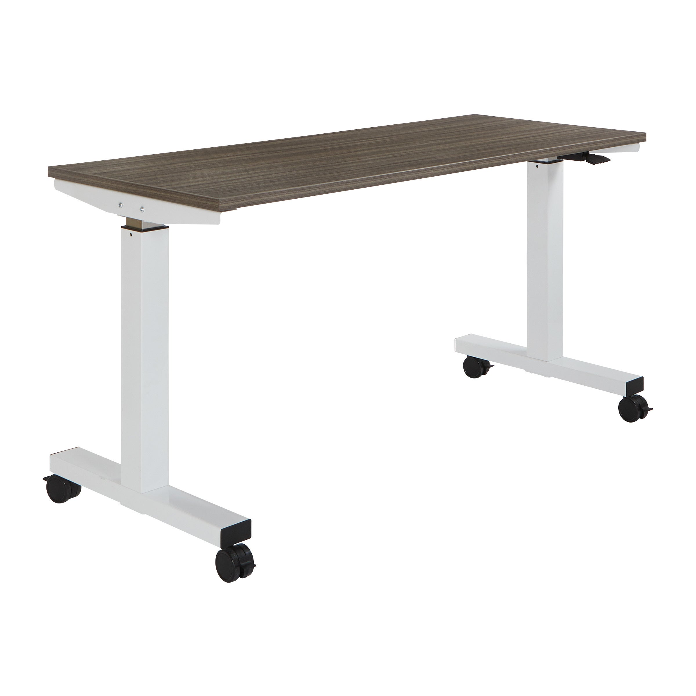 Wide Pneumatic Height Adjustable White Steel Frame Table With Locking Black  Casters And Laminate Top   On Sale   Free Shipping Today   Overstock.com    ...