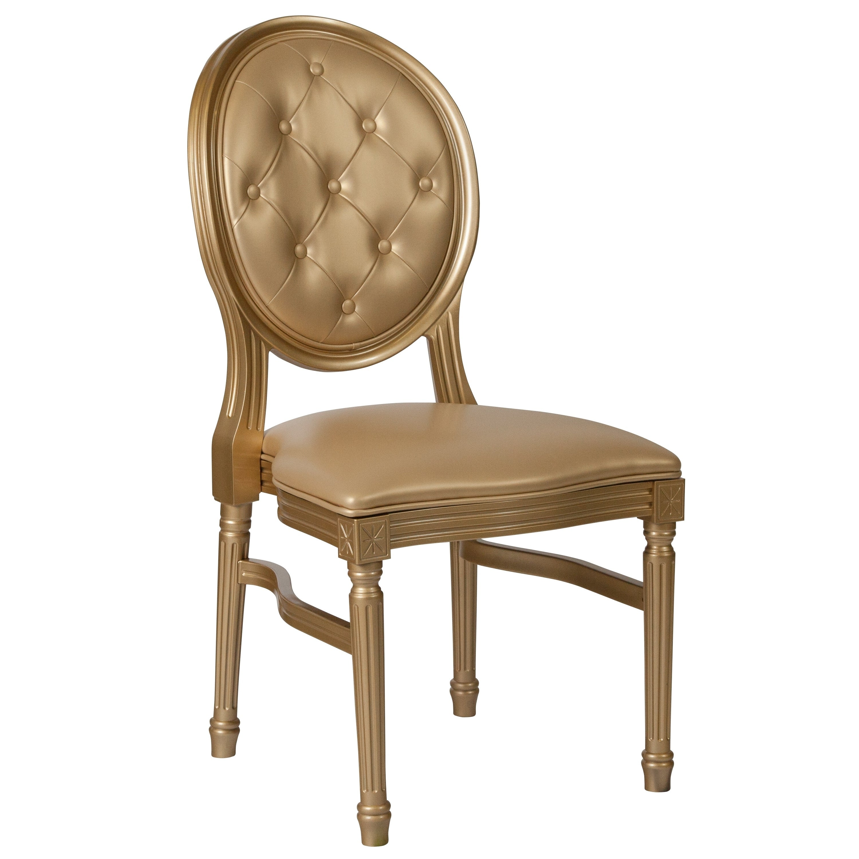 Shop Goleta Round Tufted Back Gold Dining Chair On Sale Free