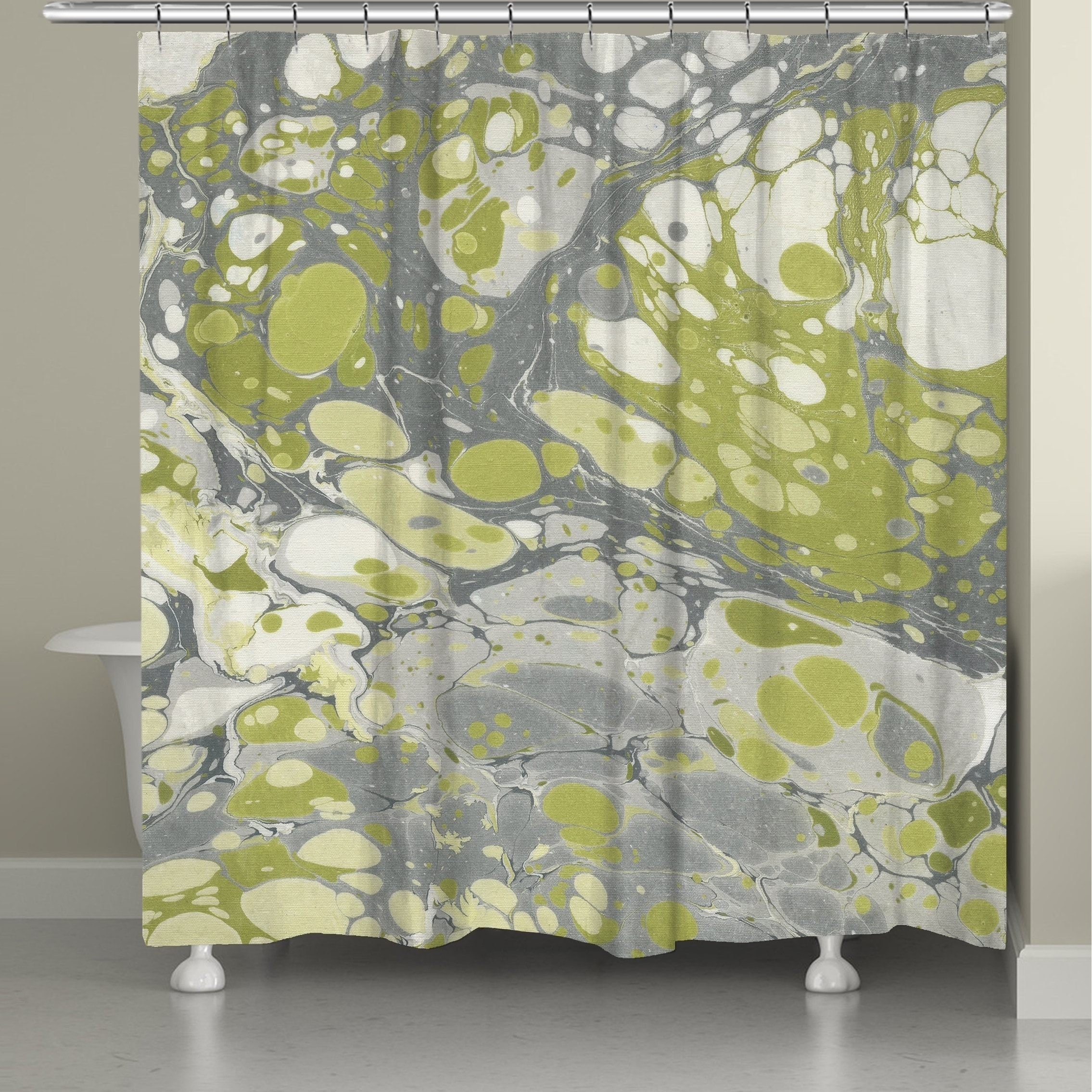 Shop Laural Home Olive Marble Shower Curtain
