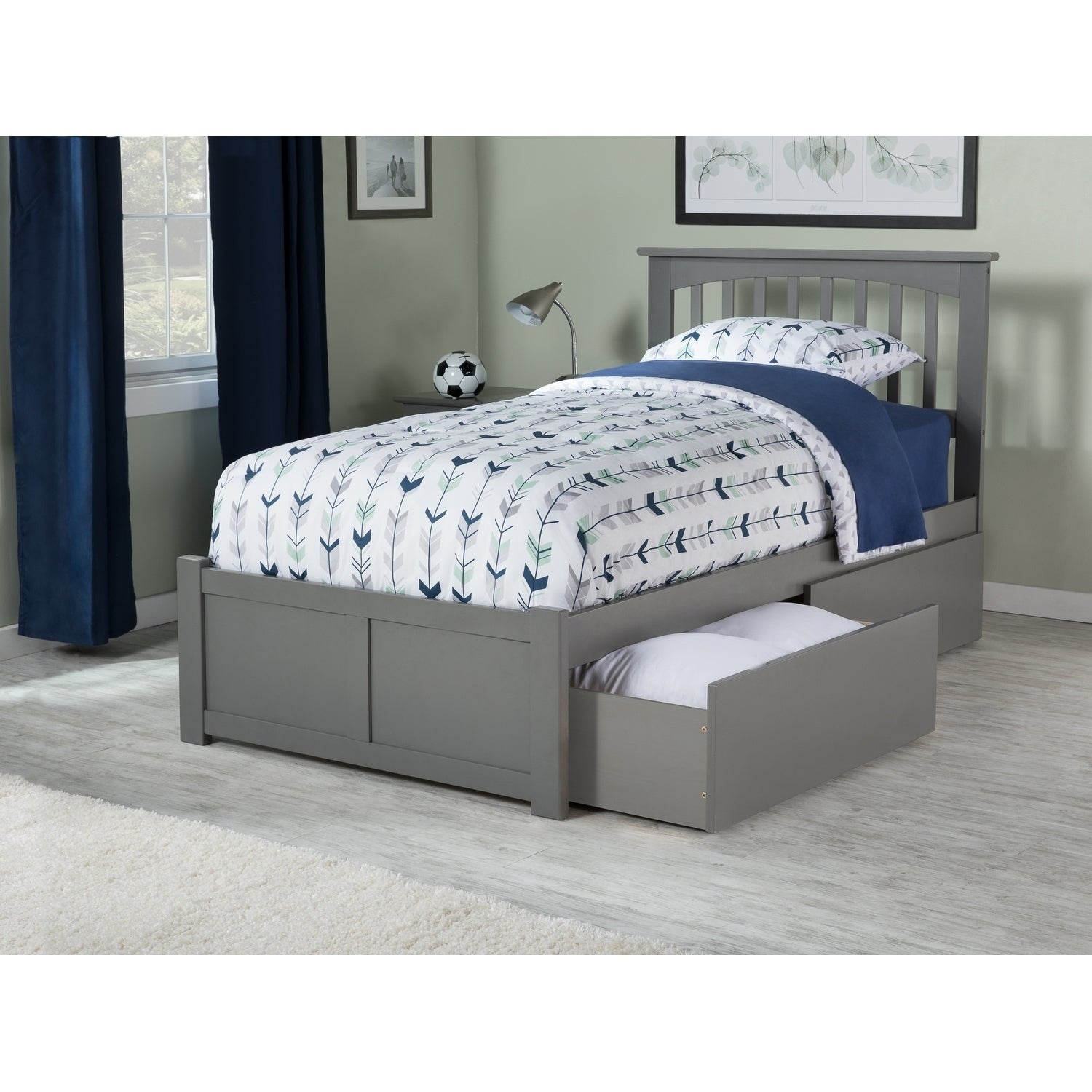 Shop Mission Twin Xl Platform Bed With Flat Panel Foot Board And 2