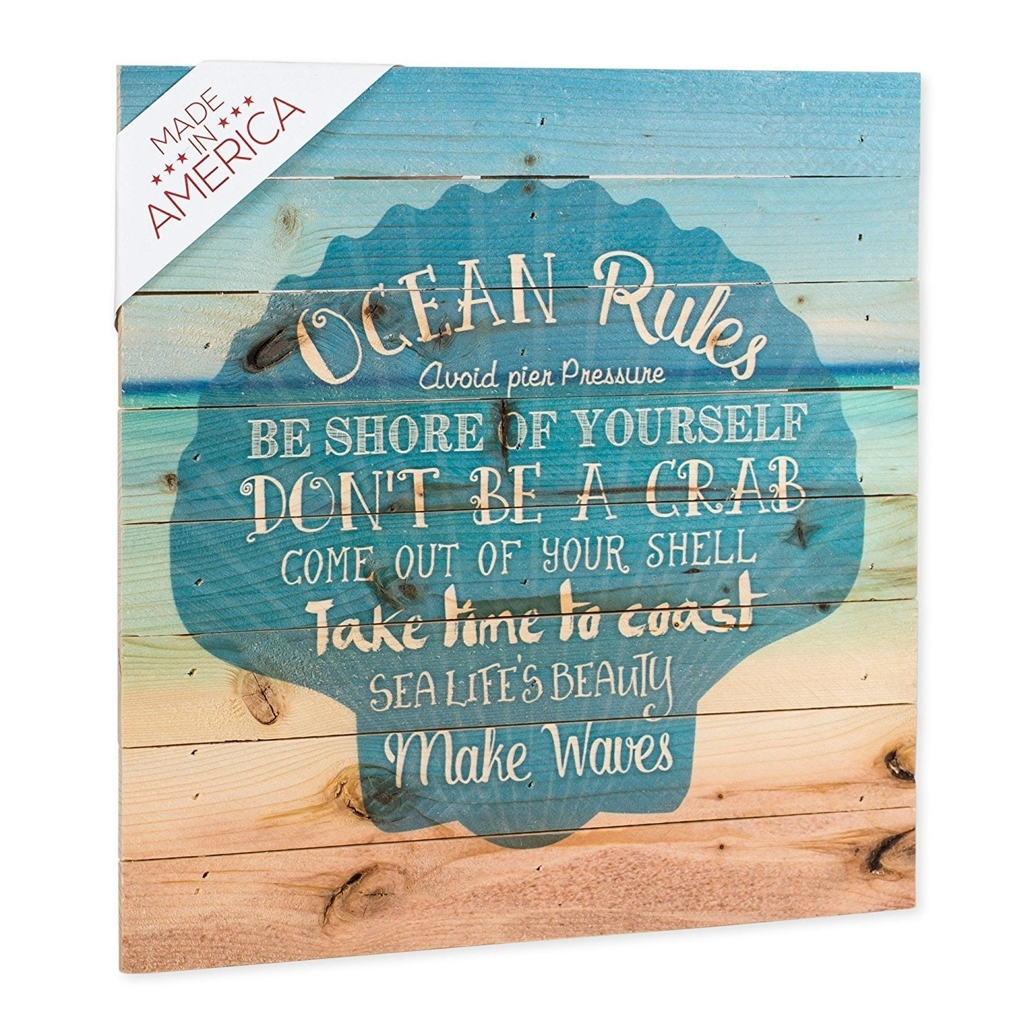 Ocean rules seashell beach design 12 x 12 wood pallet design wall ocean rules seashell beach design 12 x 12 wood pallet design wall art free shipping today overstock 25793291 solutioingenieria Gallery