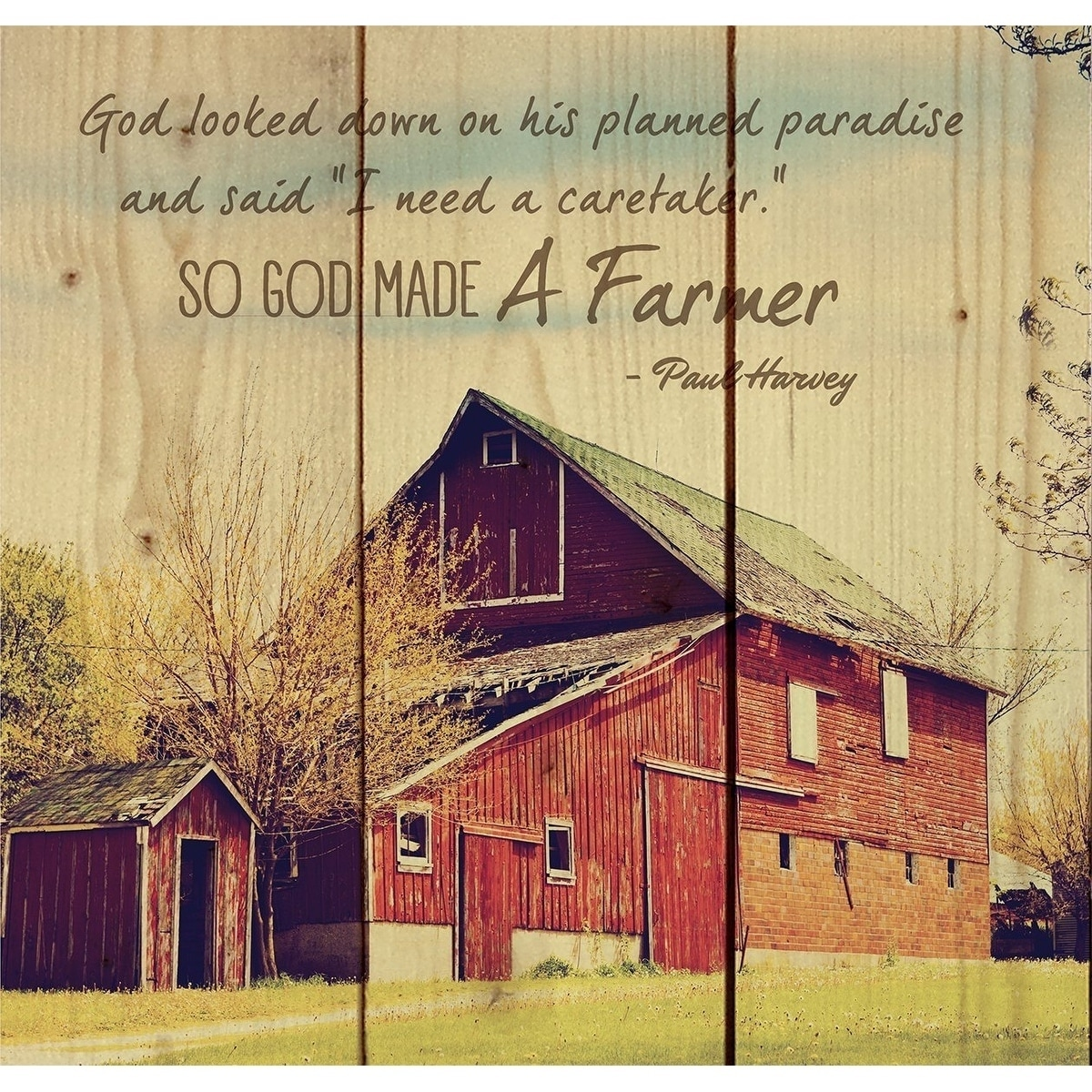 Shop So God Made a Farmer Old Red Barn 10 x 10 Wall Art Sign Plaque ...