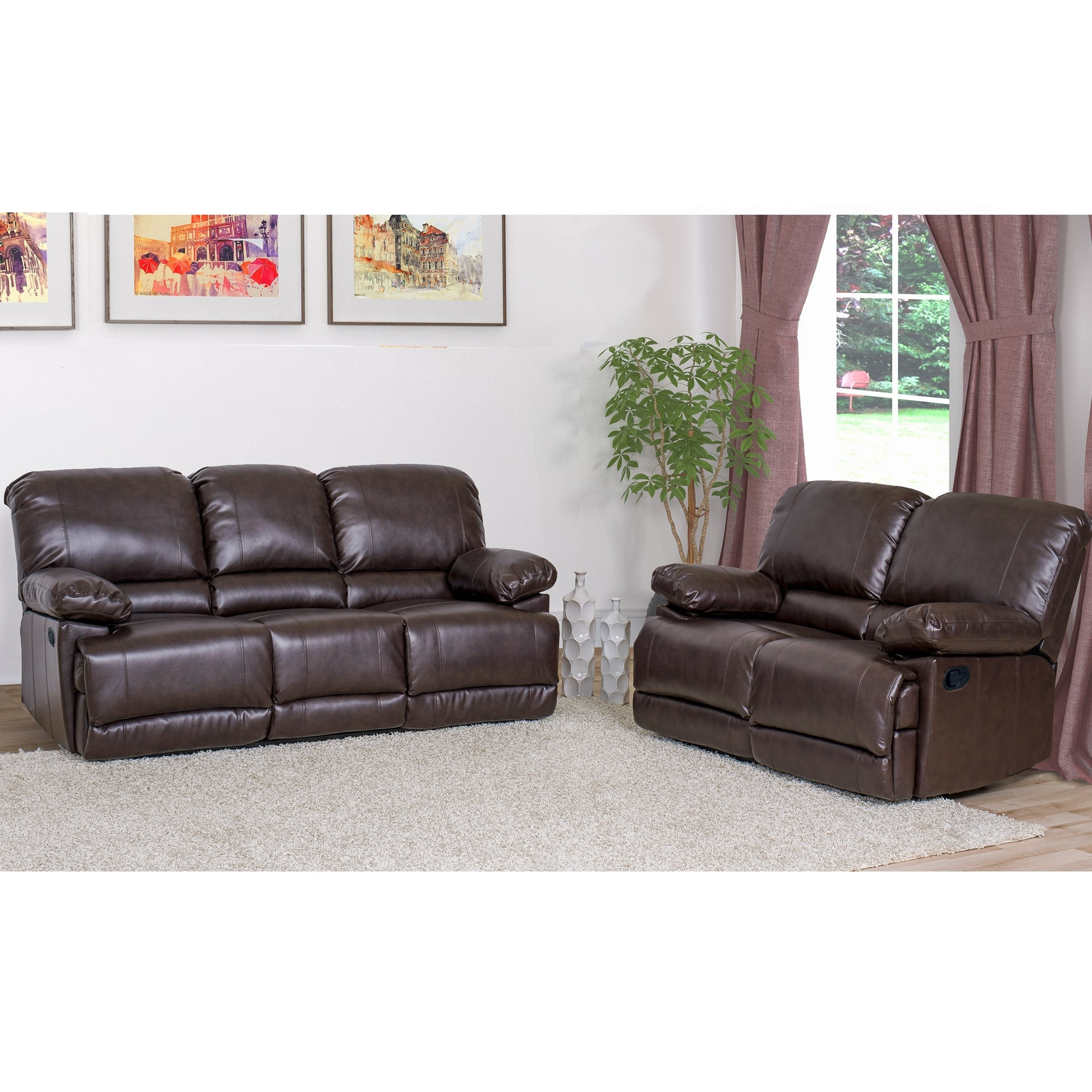 CorLiving Lea 2pc Chocolate Brown Bonded Leather Reclining Sofa Set