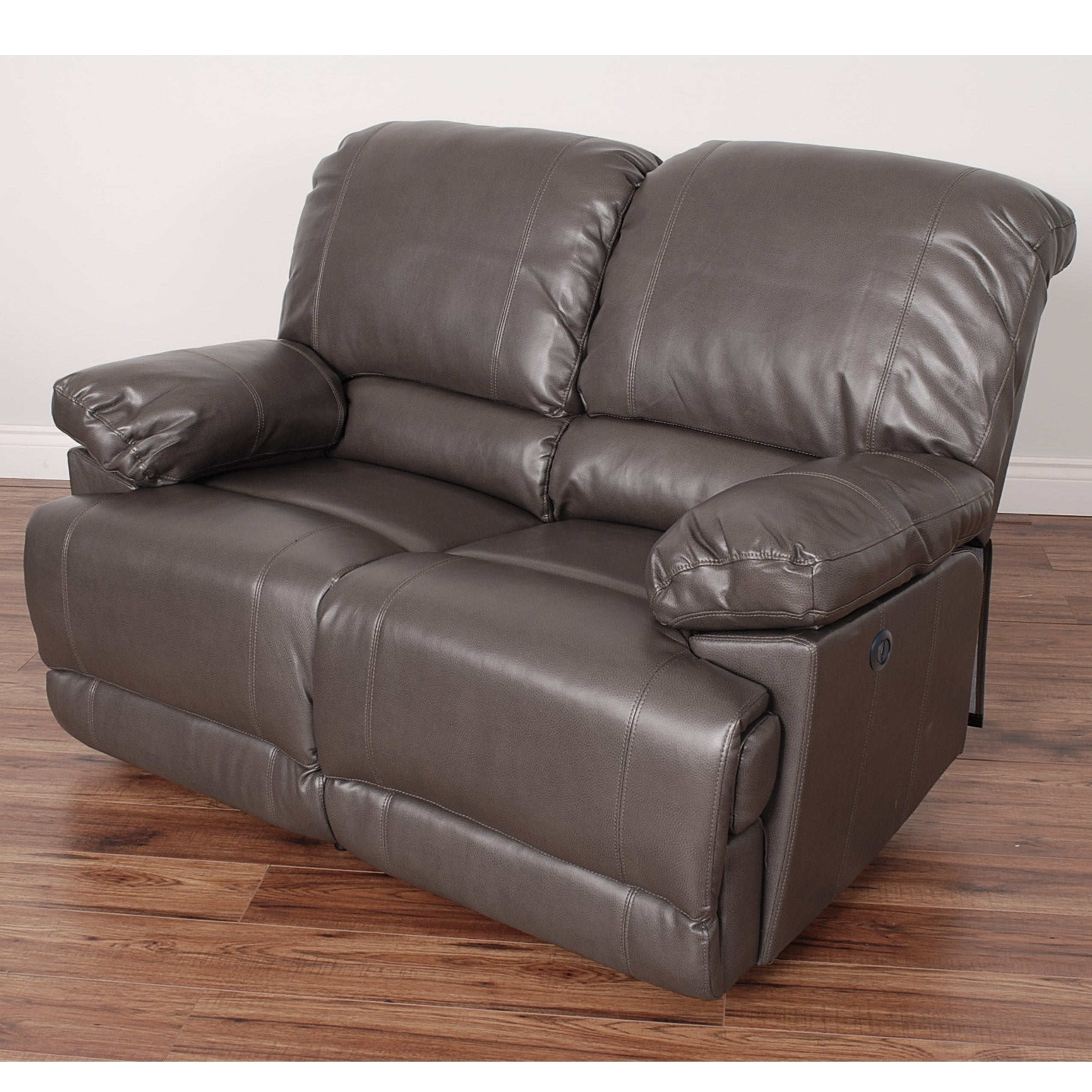 Shop Corliving Lea Bonded Leather Power Reclining Loveseat With Usb