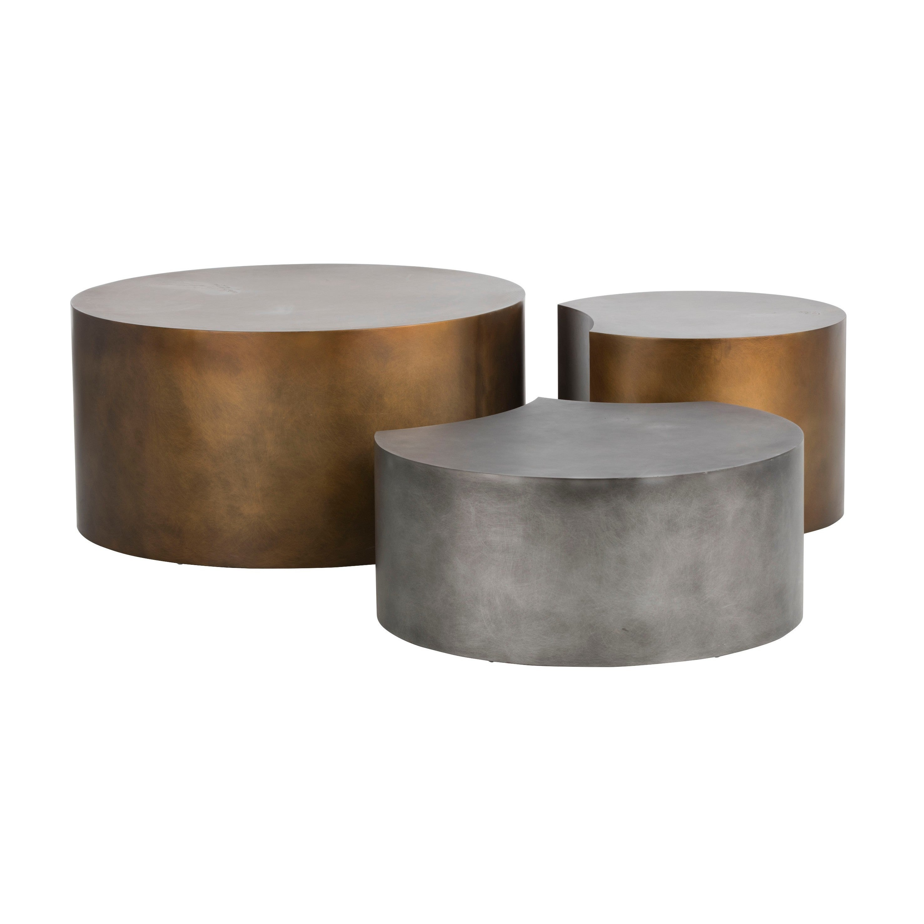 Shop ikon neo brass round coffee tables set of 3 free shipping today overstock com 19875719