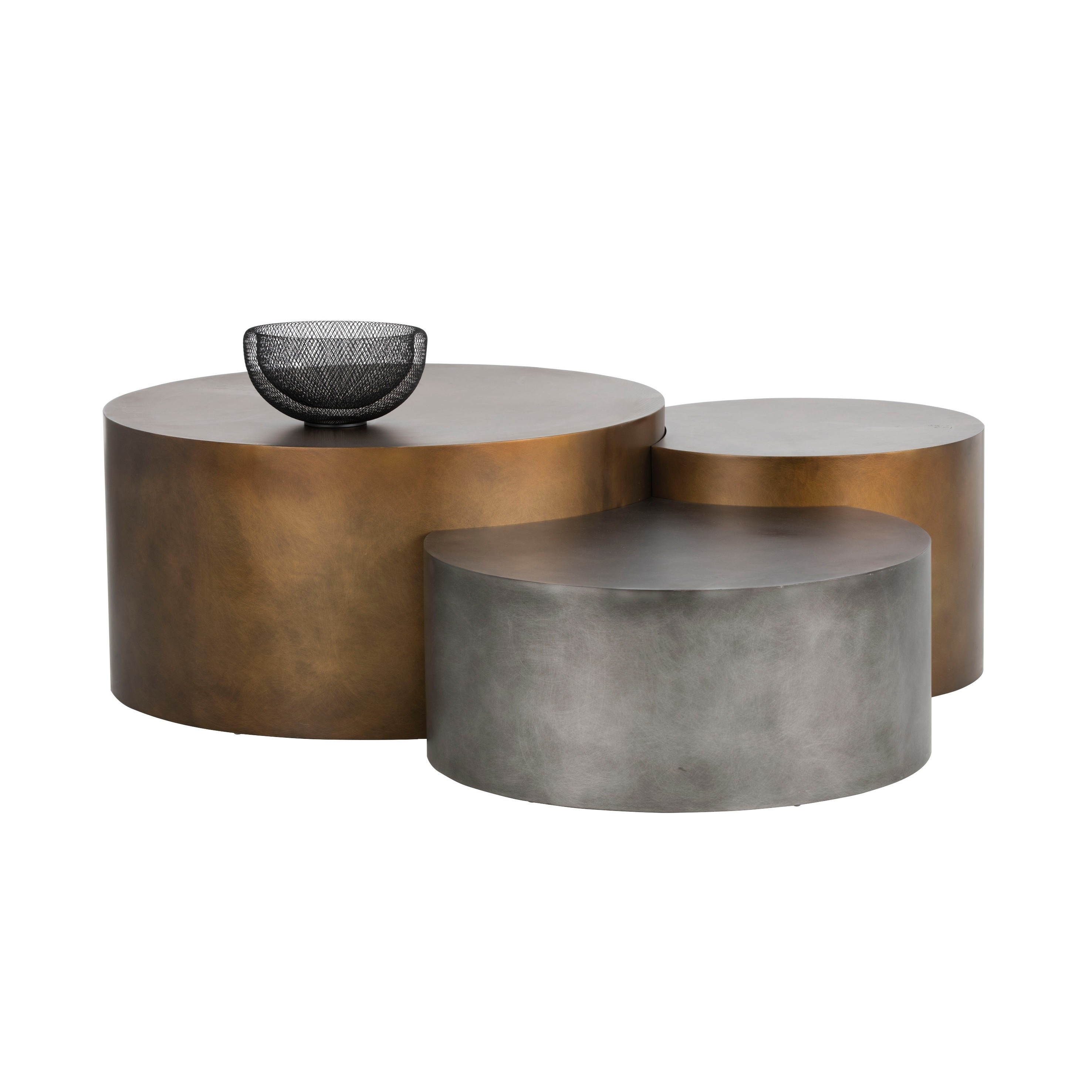 round coffee table sets Shop Ikon Neo Brass Round Coffee Tables (Set of 3)   On Sale  round coffee table sets