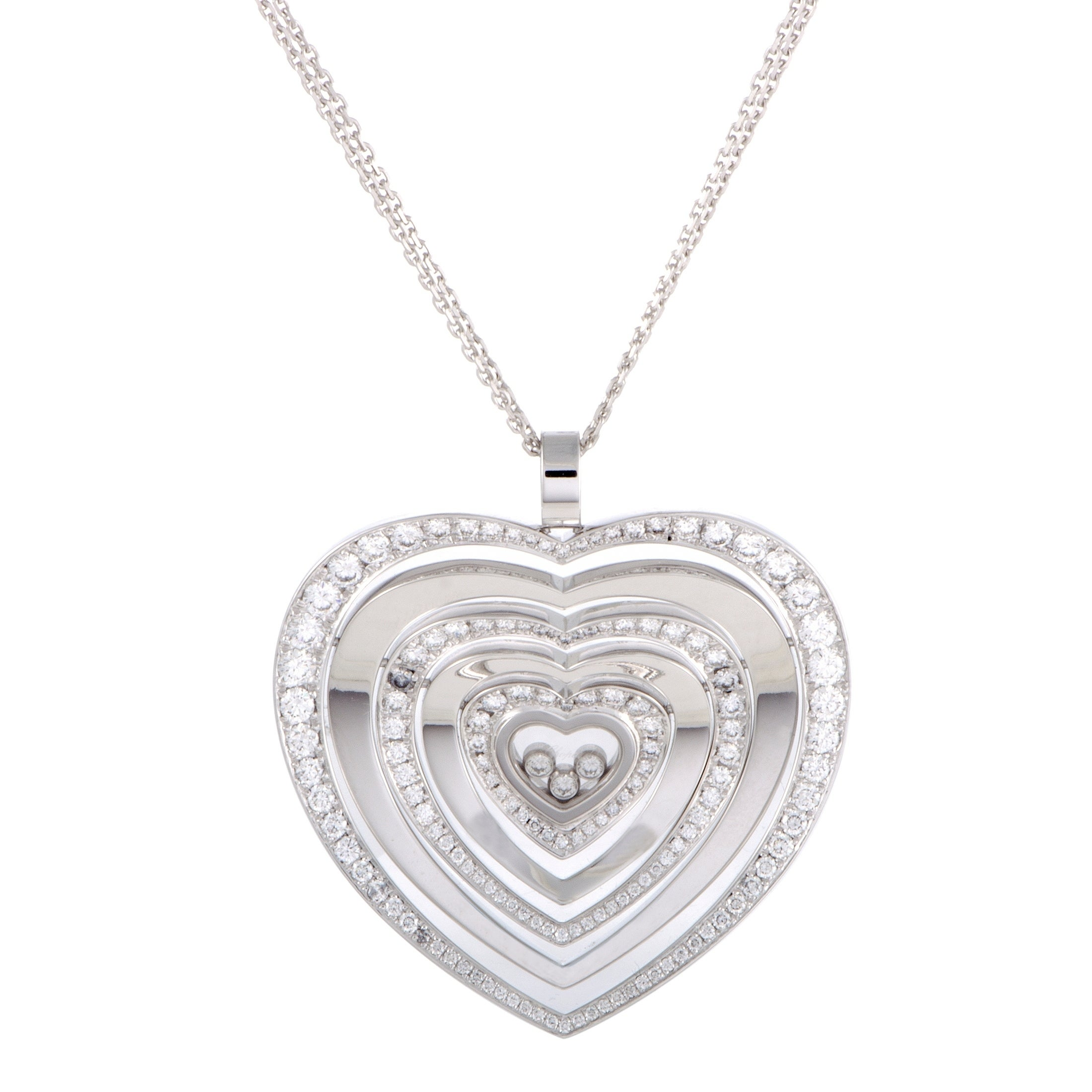 Happy diamonds 18k white gold floating diamonds large heart pendant happy diamonds 18k white gold floating diamonds large heart pendant necklace free shipping today overstock 25803267 mozeypictures Gallery