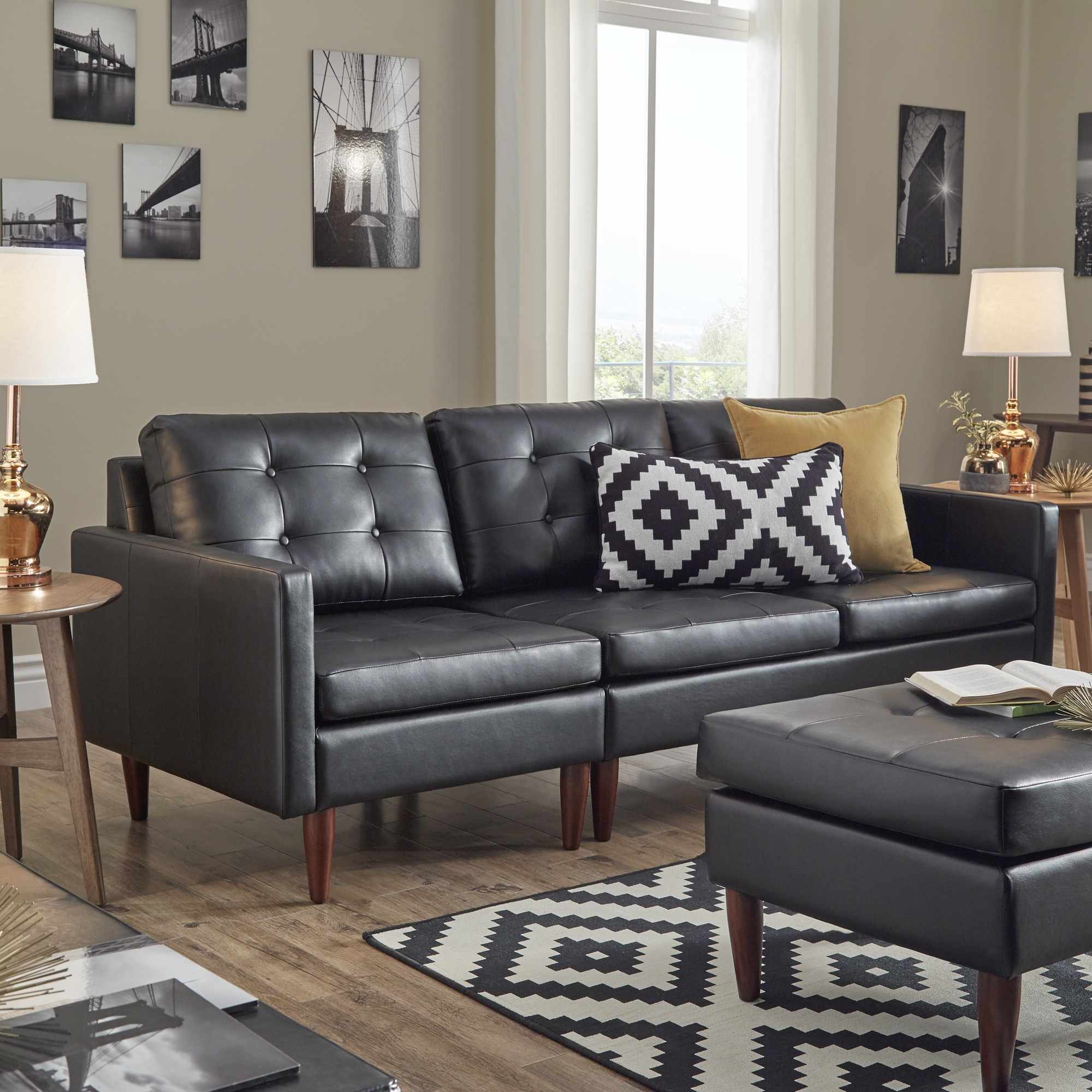Shawna Black Button Tufted Leather Gel Sofa by iNSPIRE Q Modern - Free  Shipping Today - Overstock.com - 25803408