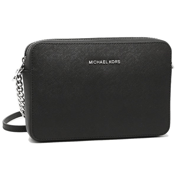 9dcb6f2a570f MICHAEL Michael Kors Jet Set Travel Large Crossbody Black Silver Hardware