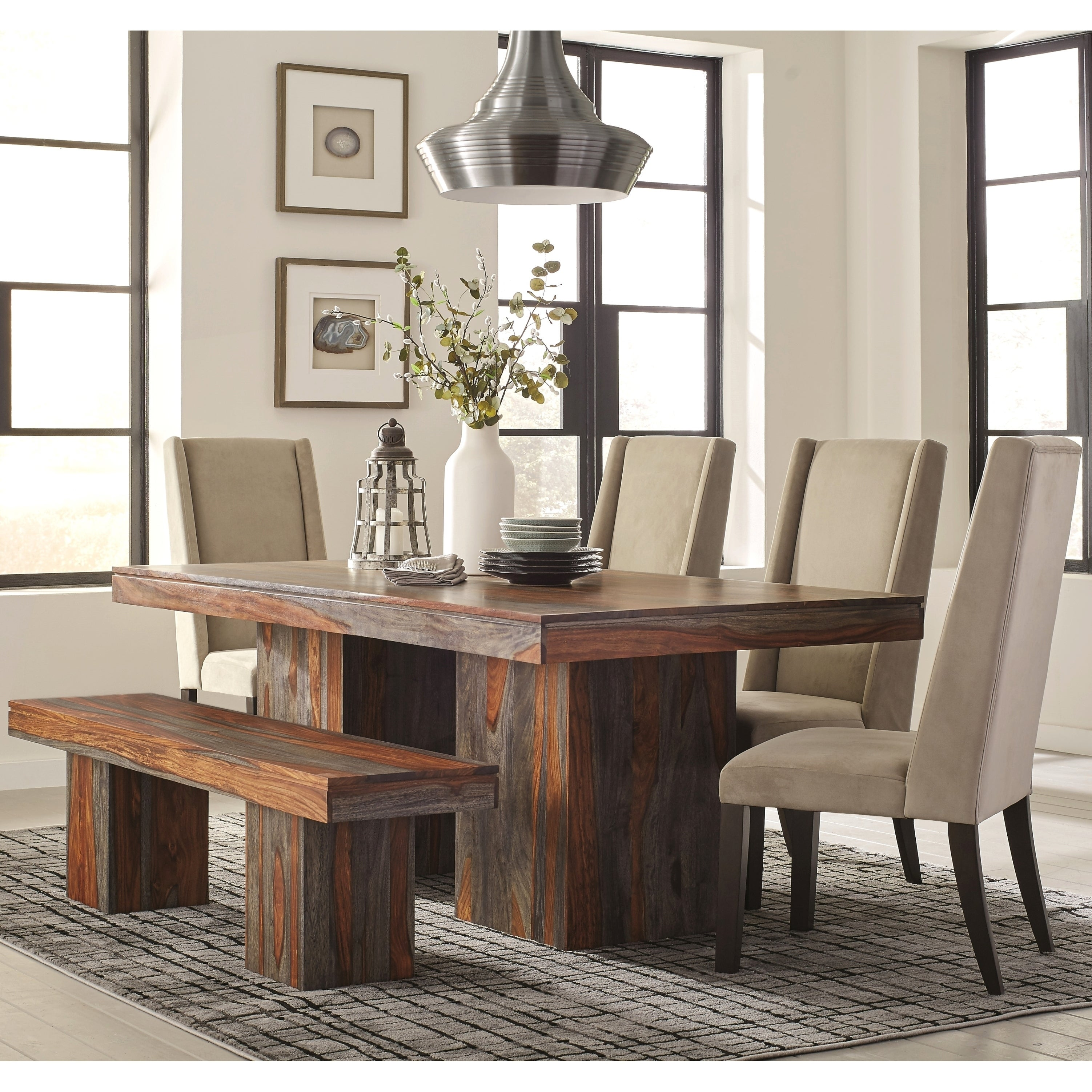 Shop modern bold design sheesham wood dining set with upholstered chairs and bench free shipping today overstock com 19883729