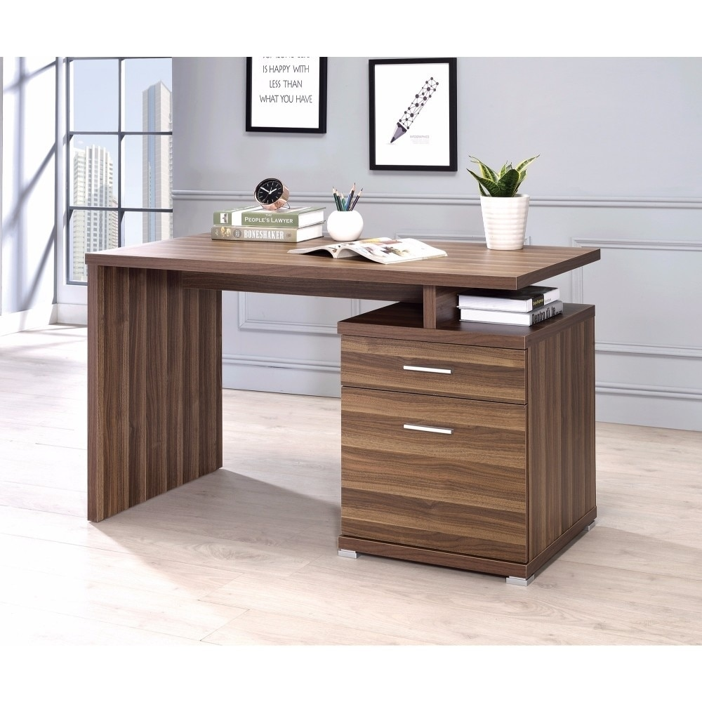 Shop sturdy contemporary office desk with cabinet brown free shipping today overstock com 19884317