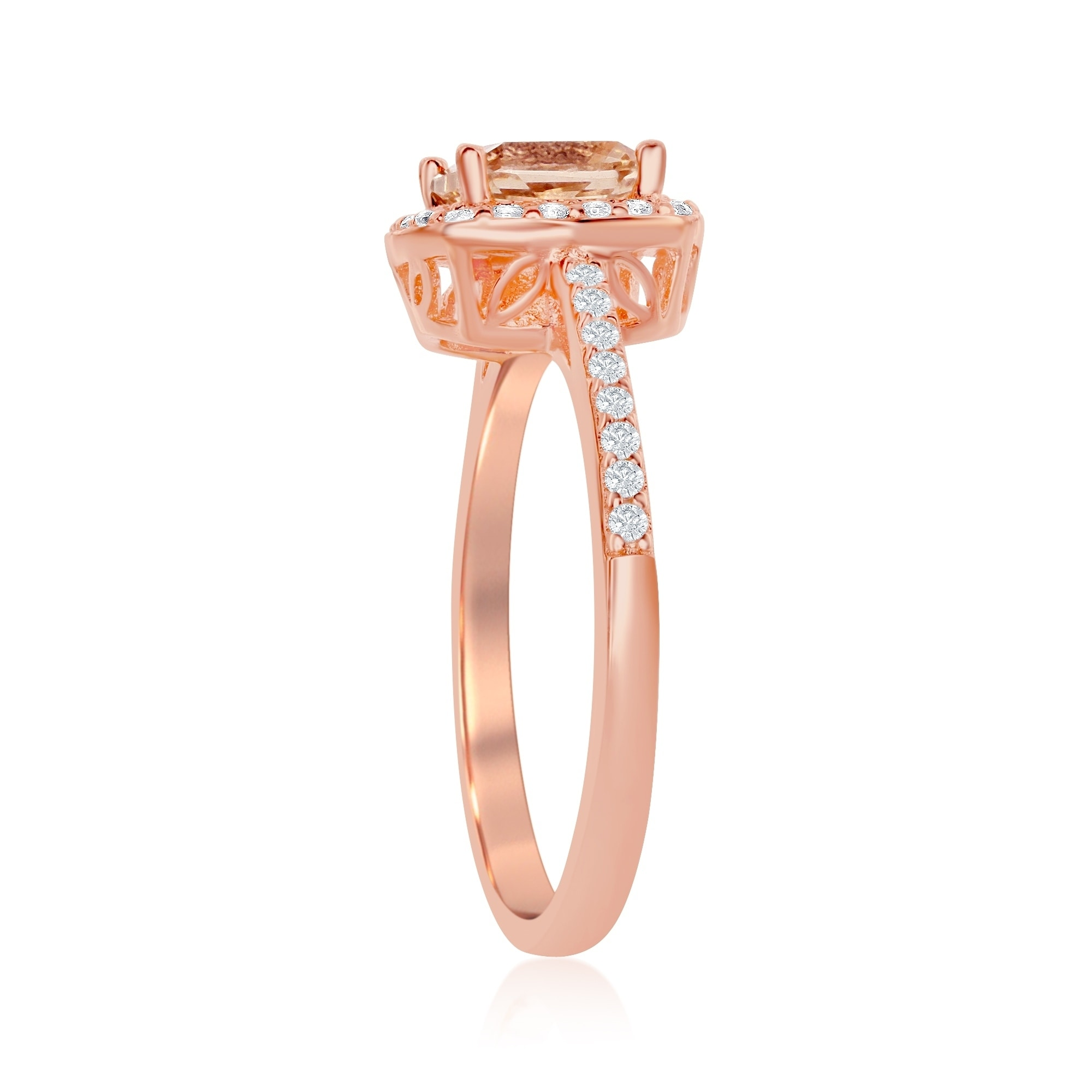 b0437d36be35b Double Accent Sterling Silver 14K Rose Gold Plated Princess CZ
