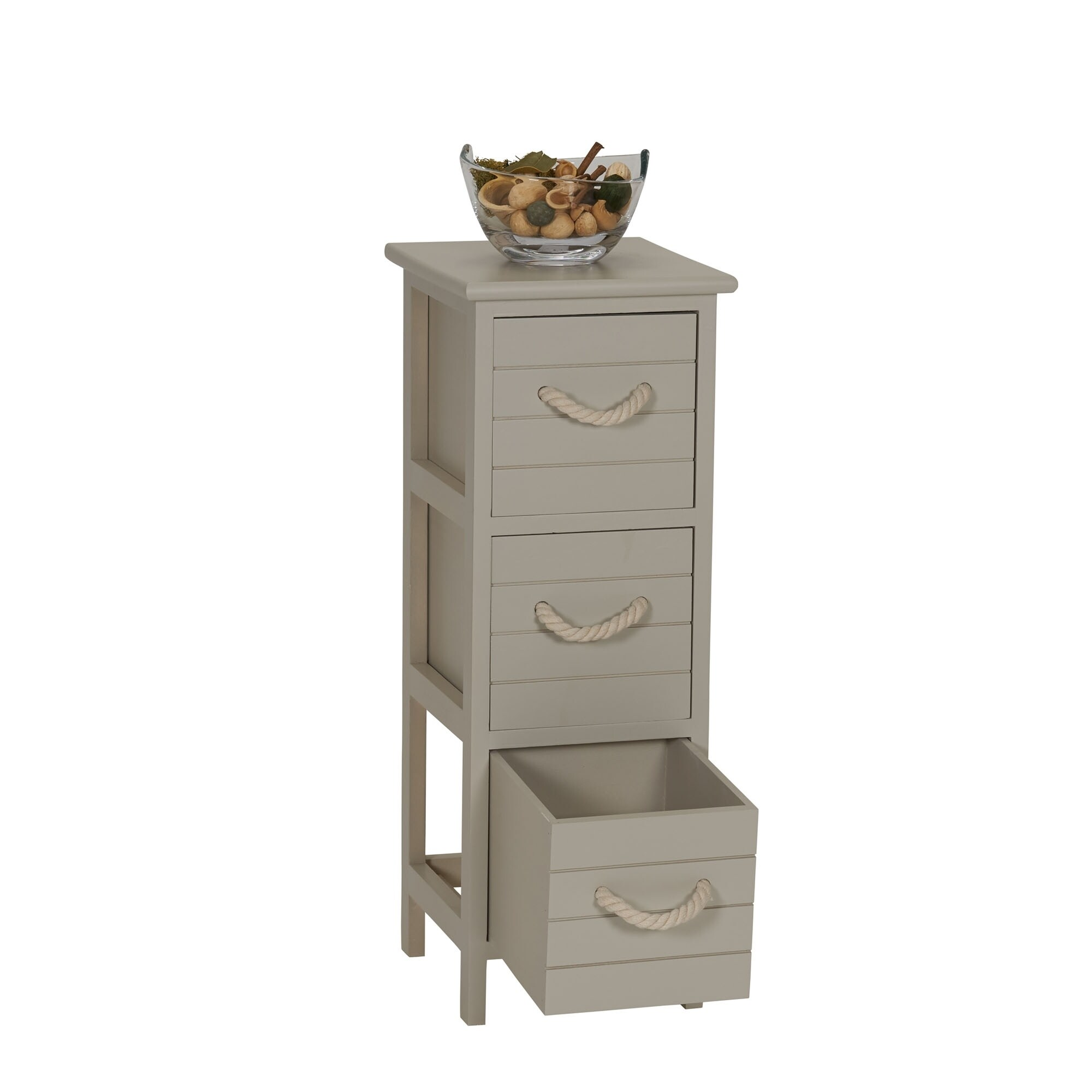 Shop Seaside 3 Drawer Narrow Storage Side Table Free Shipping