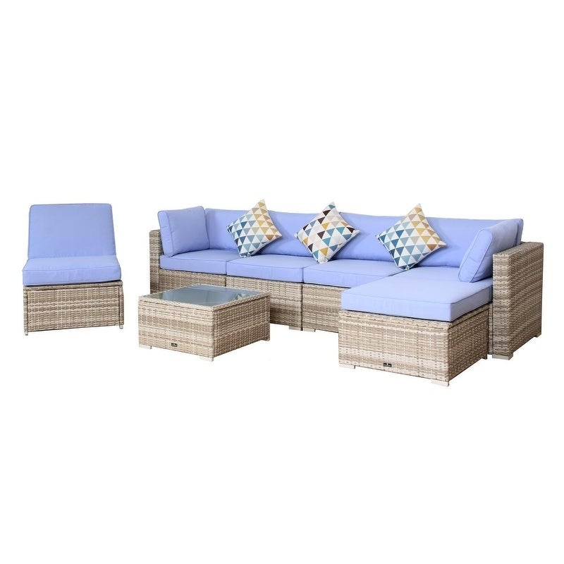Shop Broyerk 7 Piece Blue Outdoor Rattan Patio Furniture Set Lounge